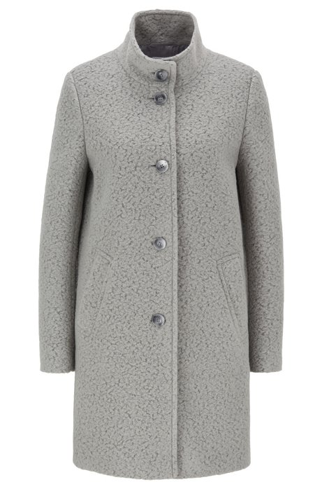 Regular-fit coat in wool-blend bouclé, Grey