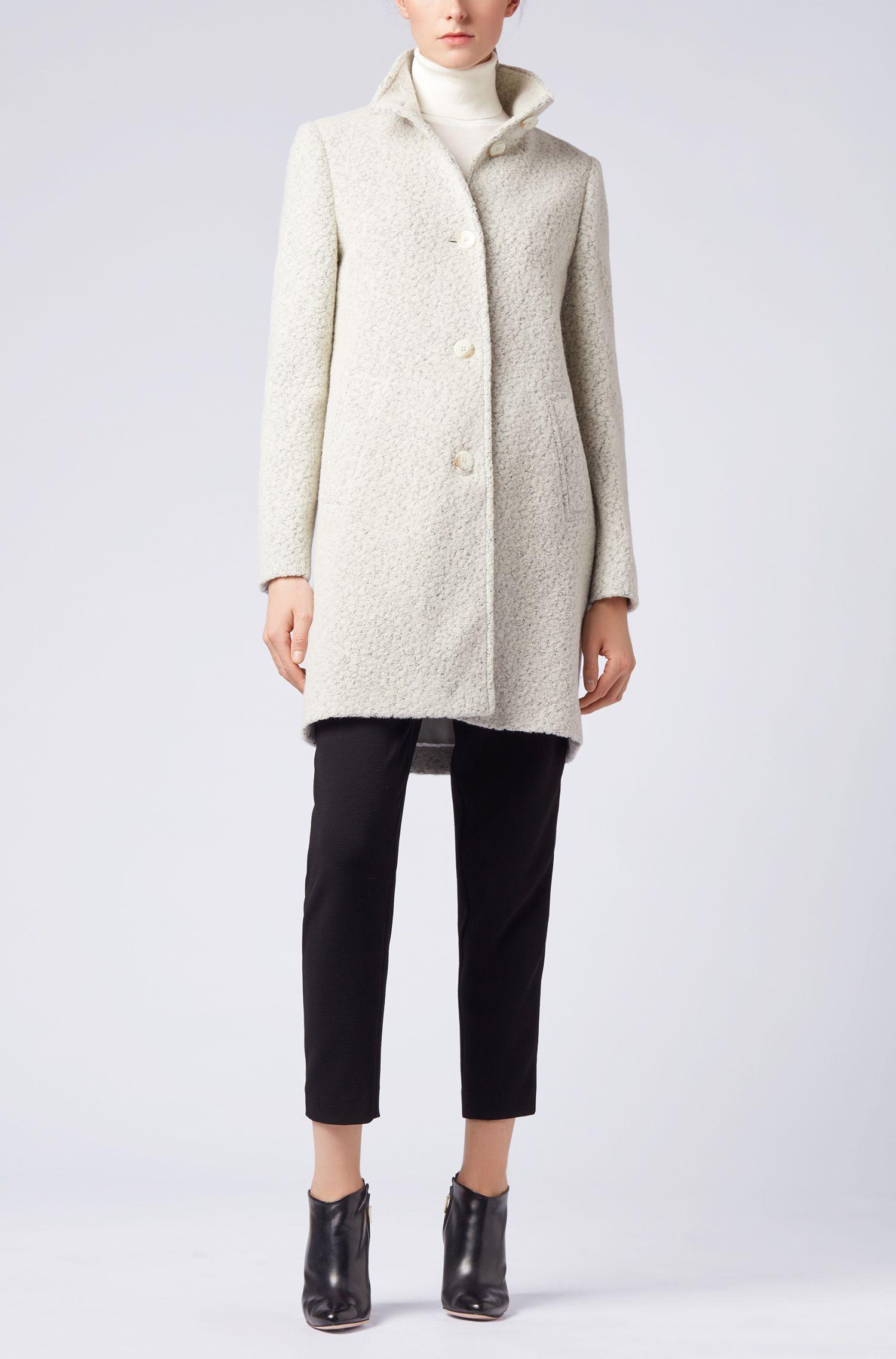 Abrigo regular fit en bouclé de mezcla de lana, Fantasía