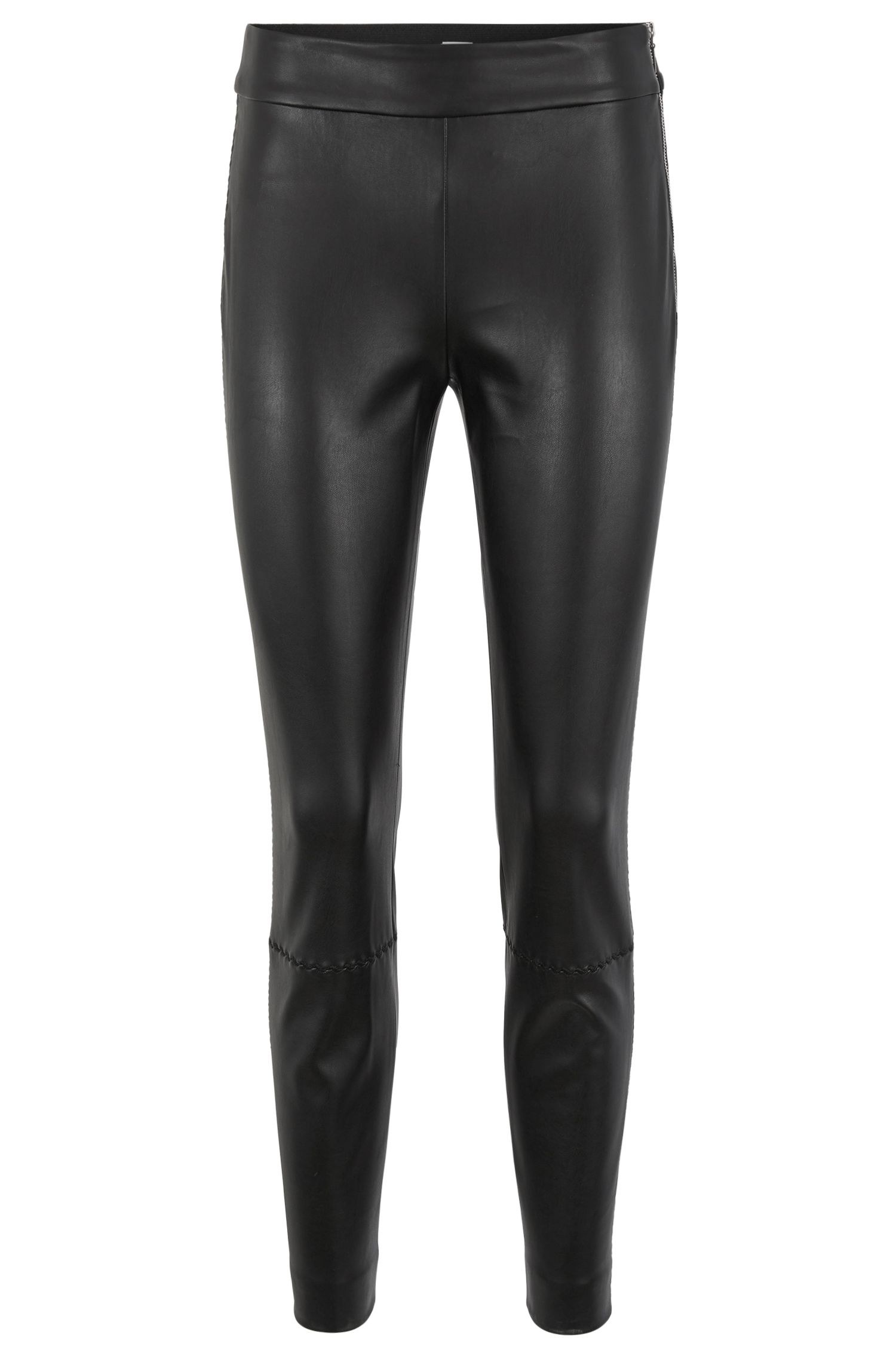 Legging-style trousers in faux leather with embroidery detailing, Black