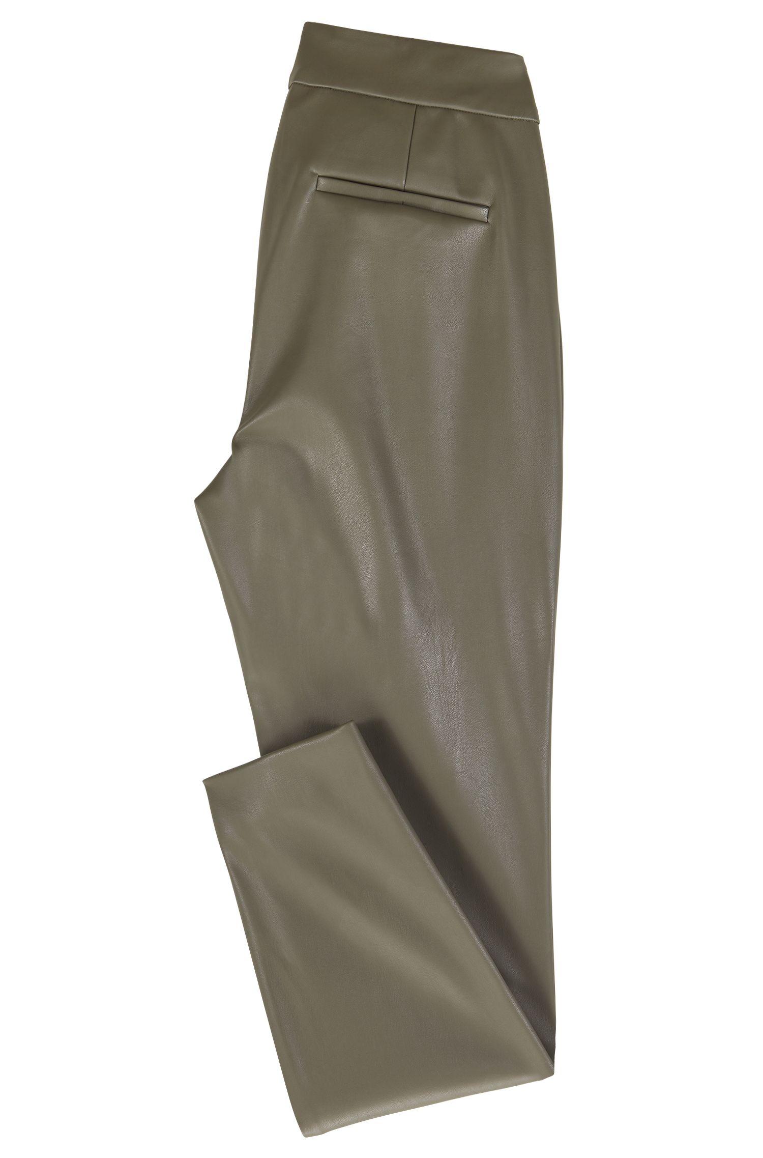 Broek in leggingstijl, van imitatieleer met geborduurde details, Kaki