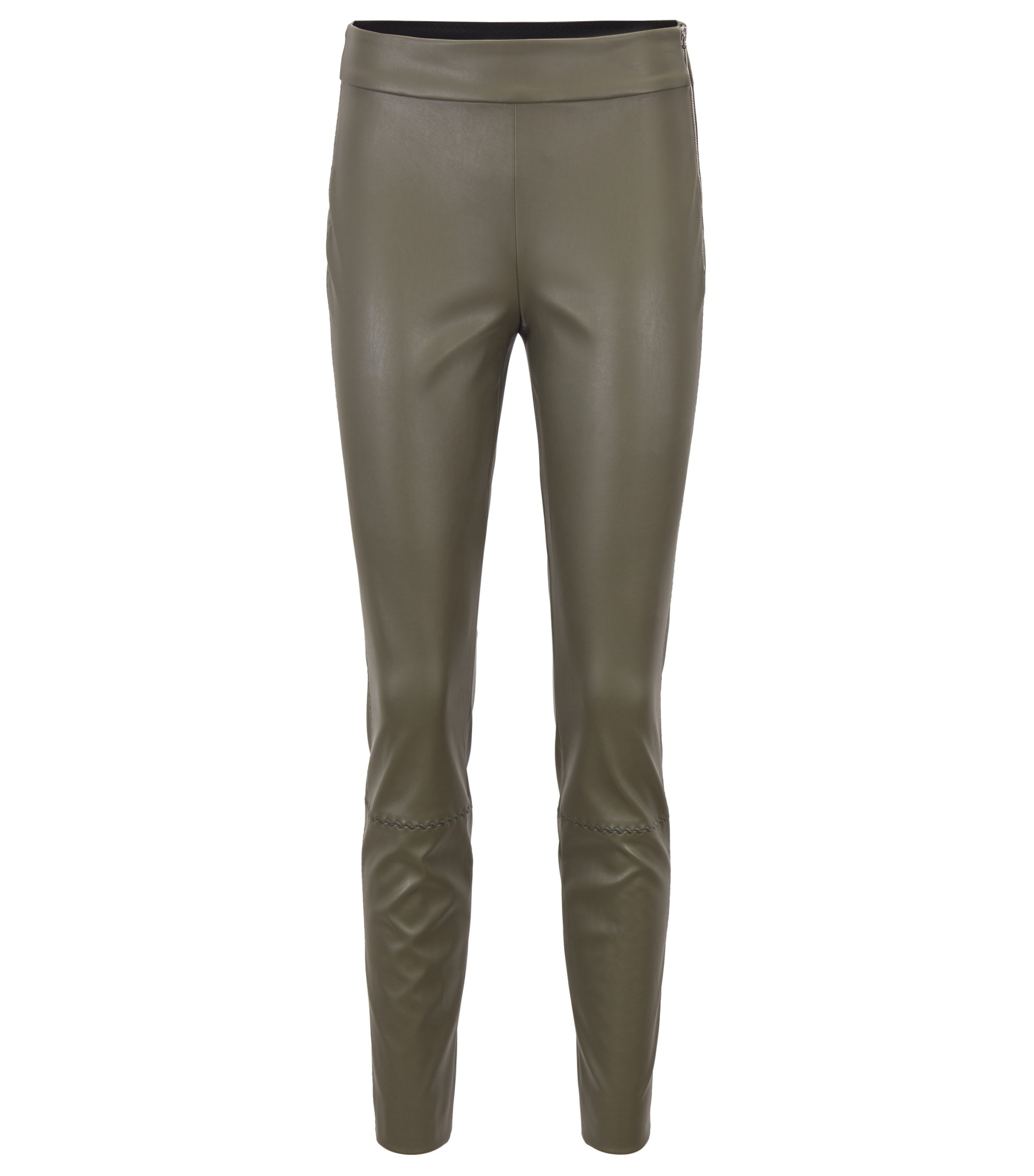 Regular-Fit Kunstleder-Hose mit Stickerei, Khaki