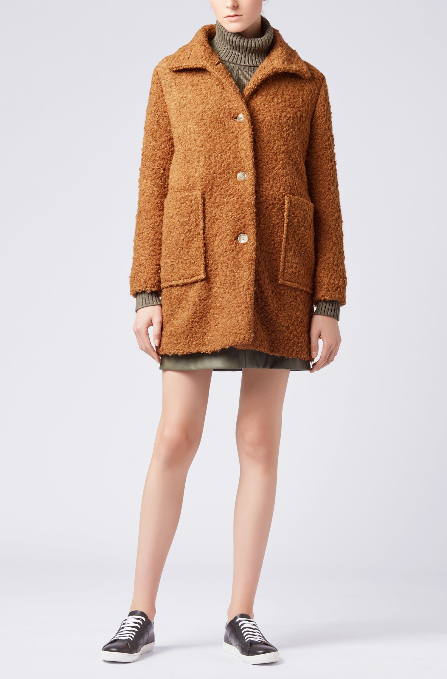 Relaxed-fit teddy coat with stand collar