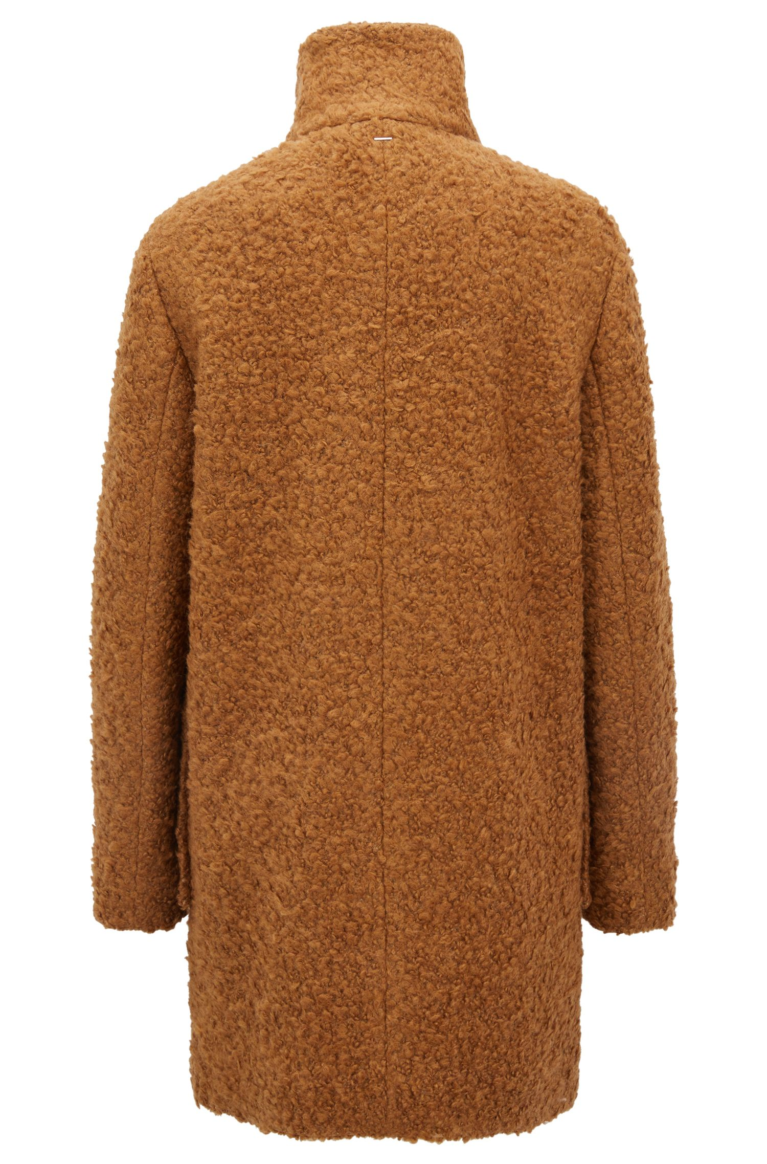Relaxed-fit mantel van badstof met opstaande kraag, Lichtbruin