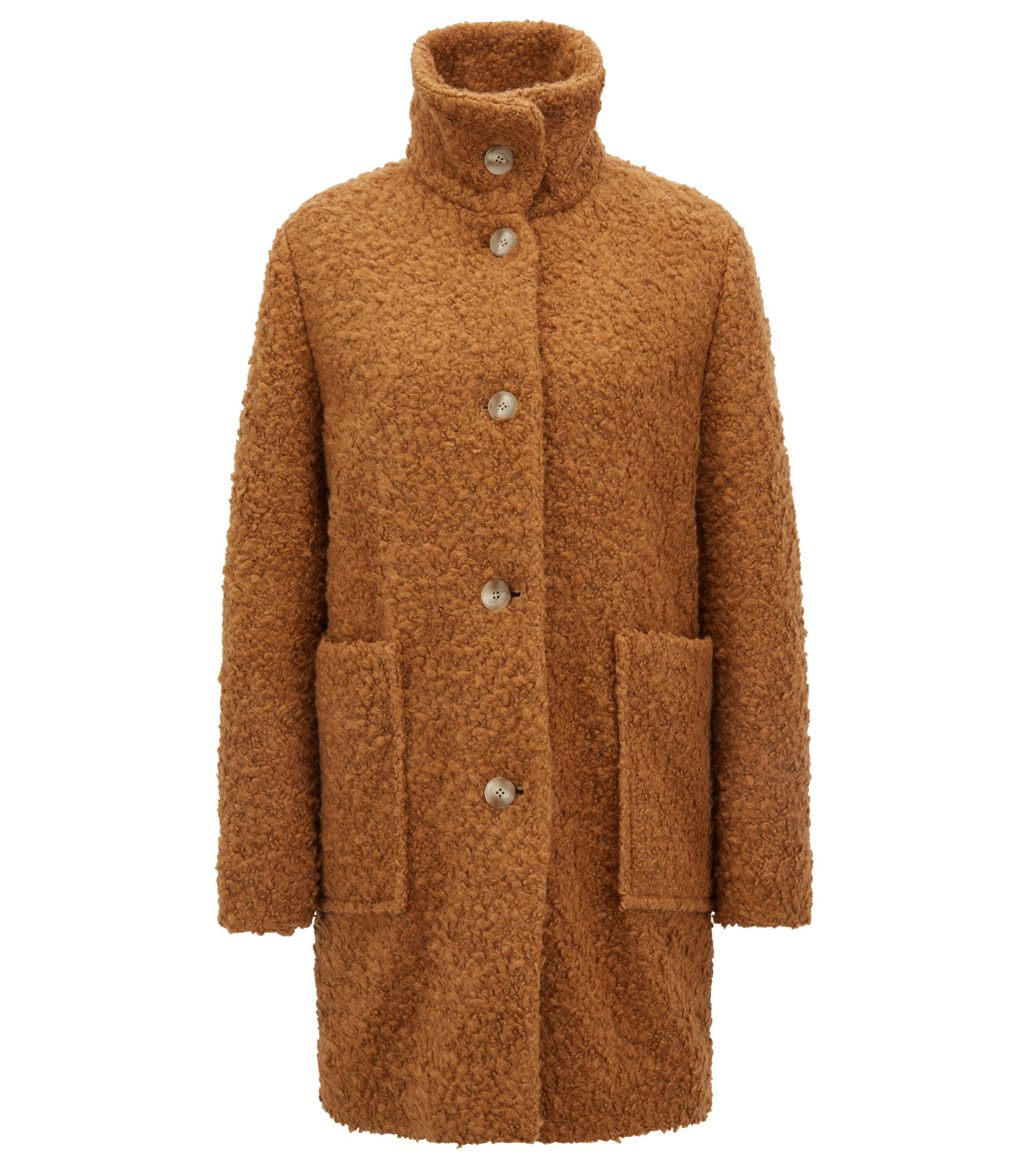 Relaxed-fit teddy coat with stand collar, Light Brown