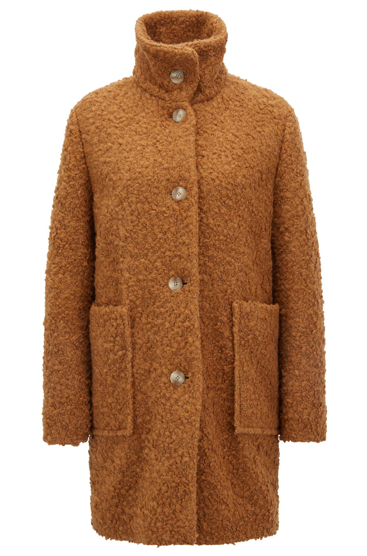 Manteau Relaxed Fit en peluche à col montant, Brun chiné
