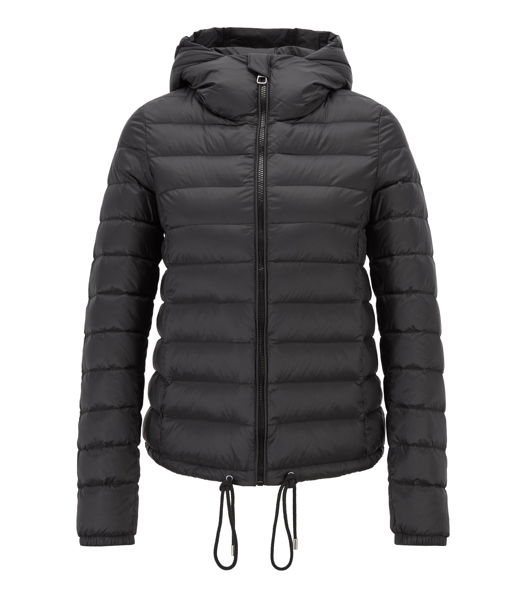 Lightweight down-filled jacket with water-repellent outer, Black