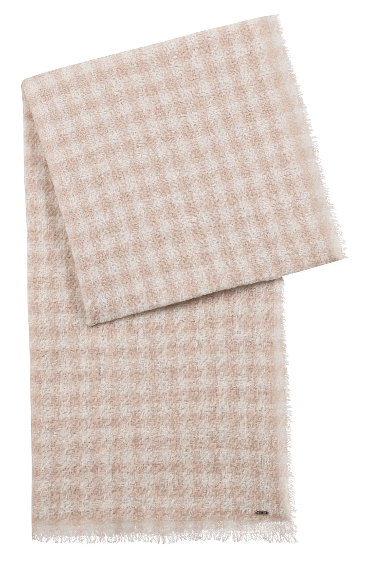 Écharpe en maille jacquard de laine vierge mélangée à carreaux pied-de-poule, Fantaisie