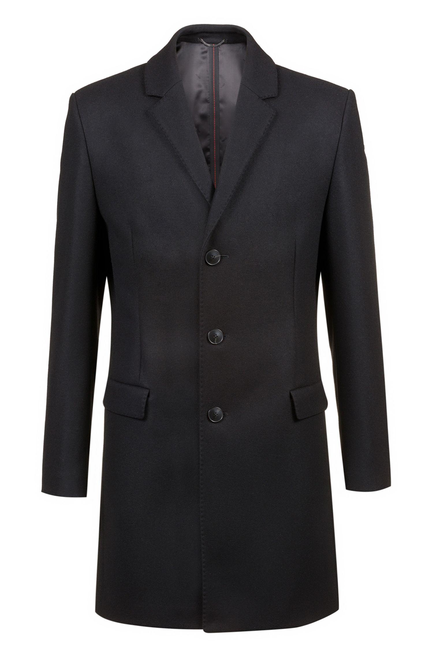 Slim-fit wool-blend coat with notch lapels, Black