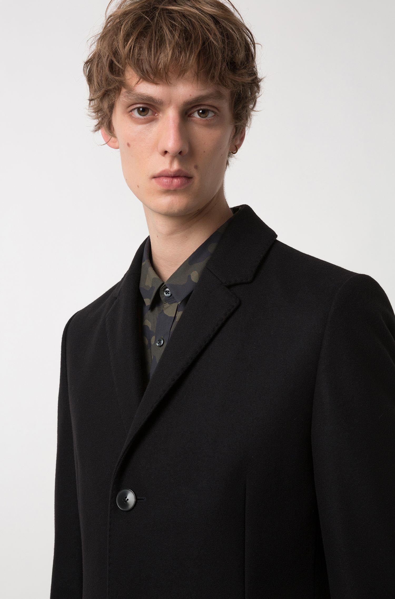 Slim-fit mantel met notch-revers van een wolmix, Zwart