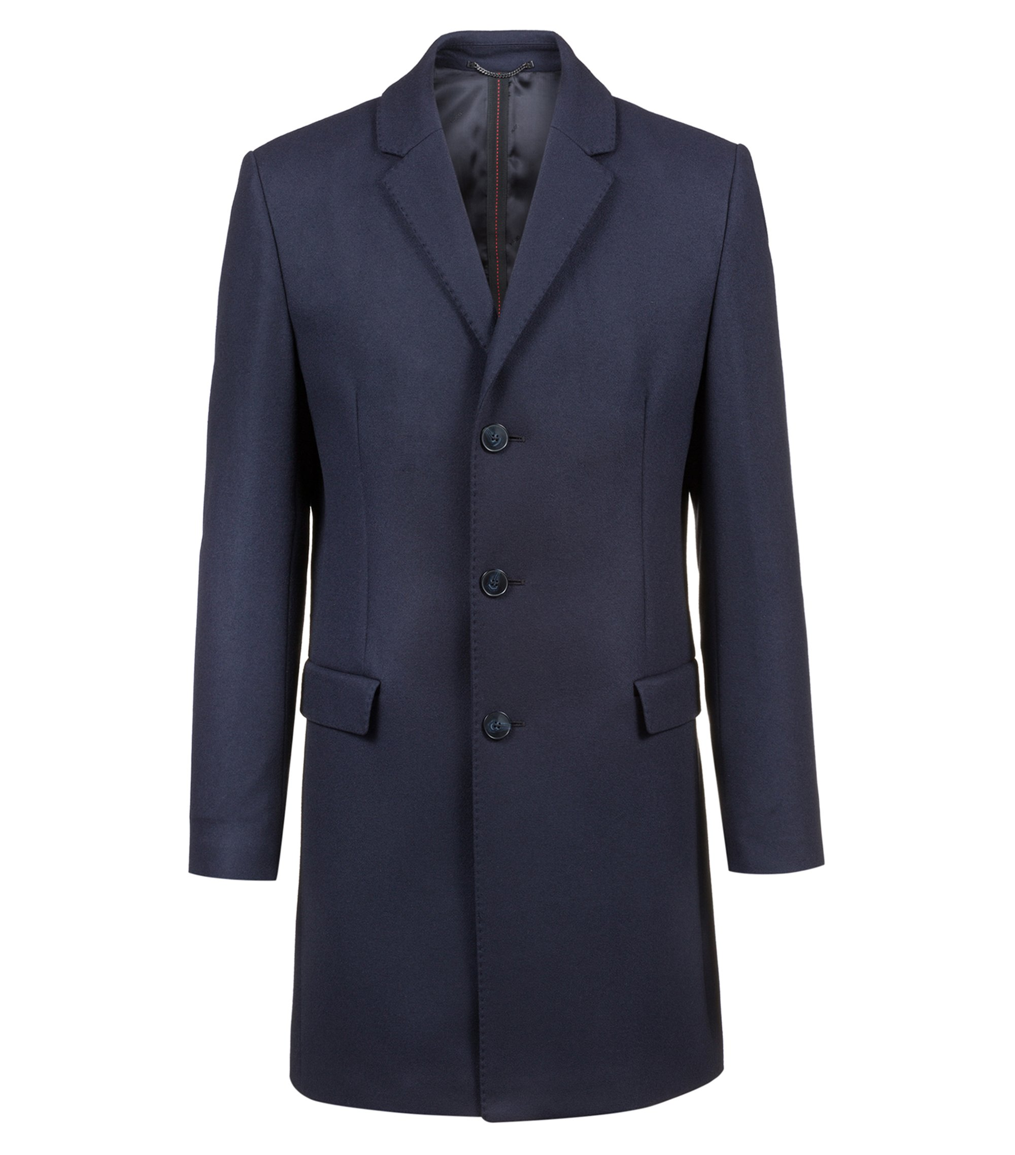Cappotto slim fit in misto lana con revers classico, Blu scuro