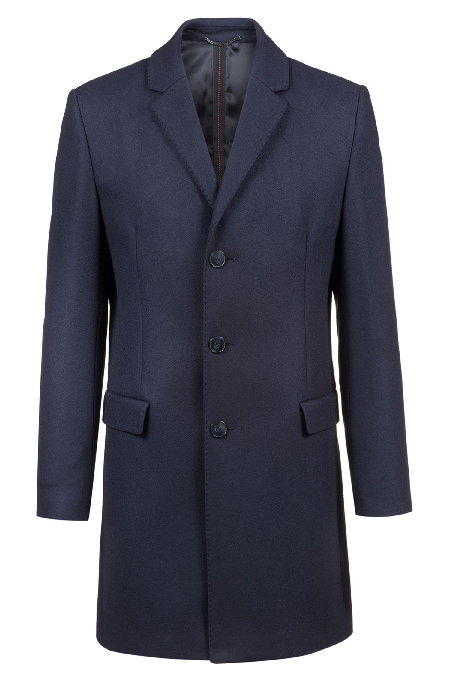 Slim-fit wool-blend coat with notch lapels, Dark Blue
