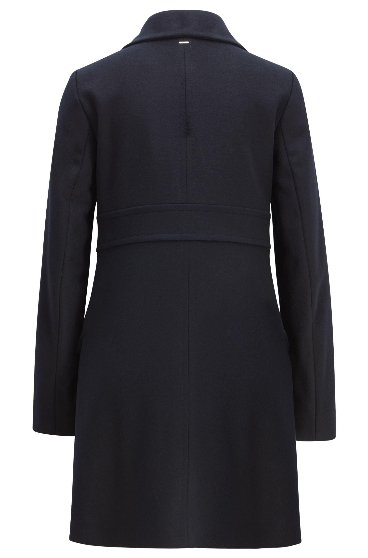 Manteau boutonné en laine vierge à teneur en cachemire, Bleu foncé