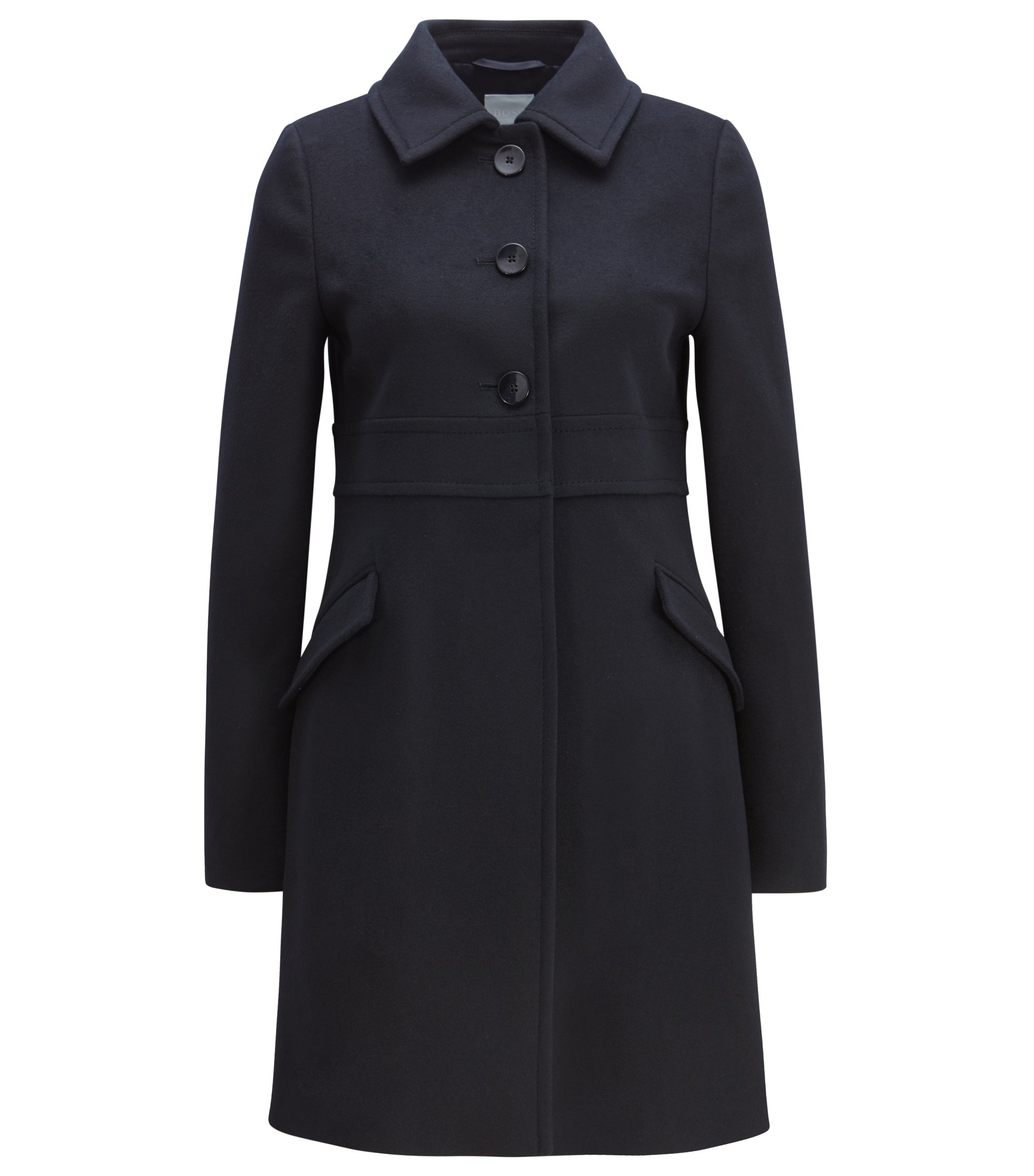Button-down coat in virgin wool with cashmere, Dark Blue