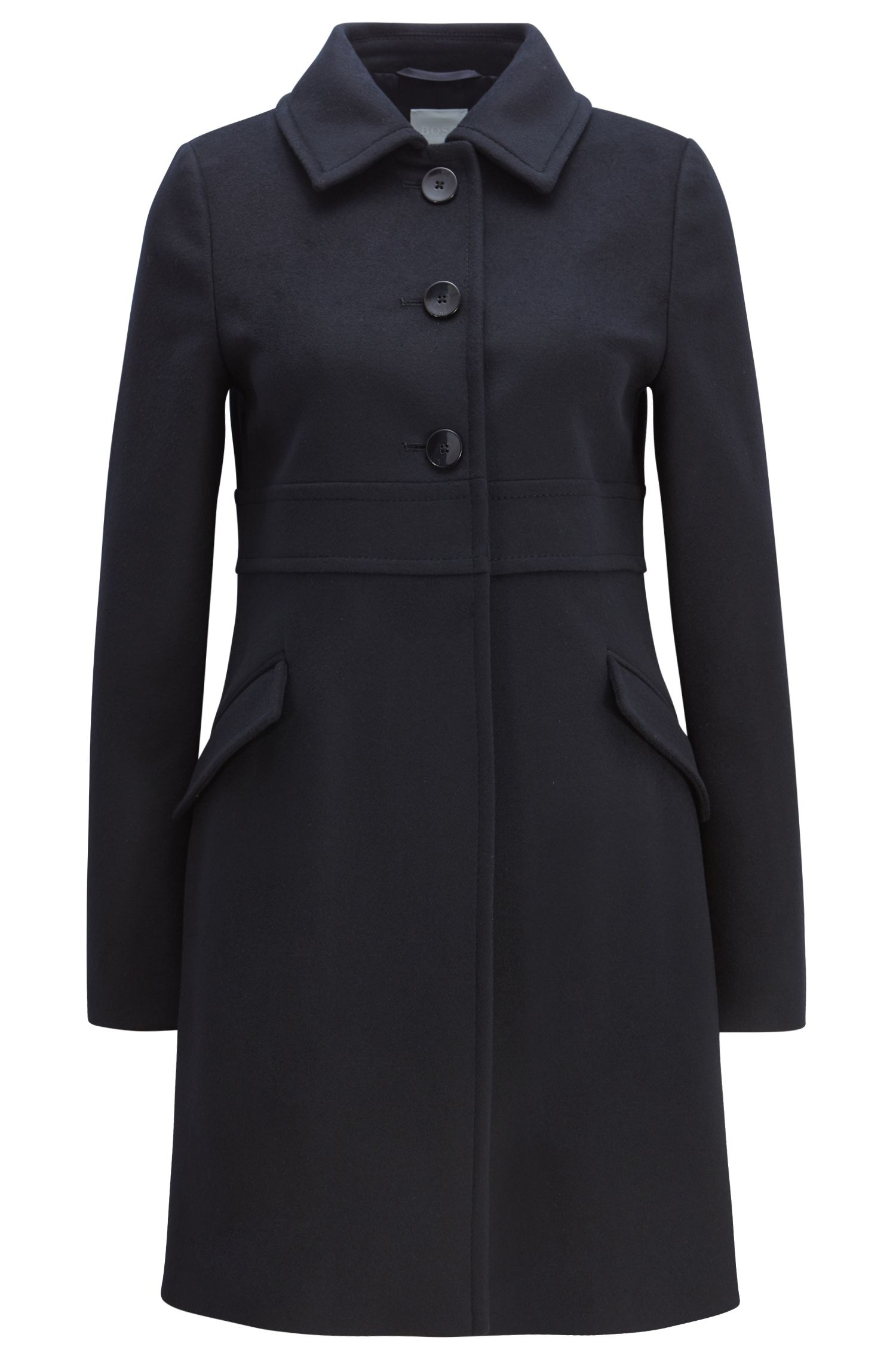 Manteau boutonné en laine vierge à teneur en cachemire