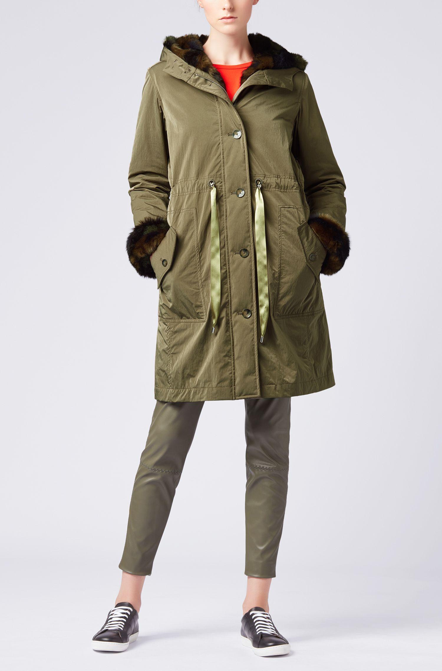 Hooded parka with faux-fur trims and detachable lining