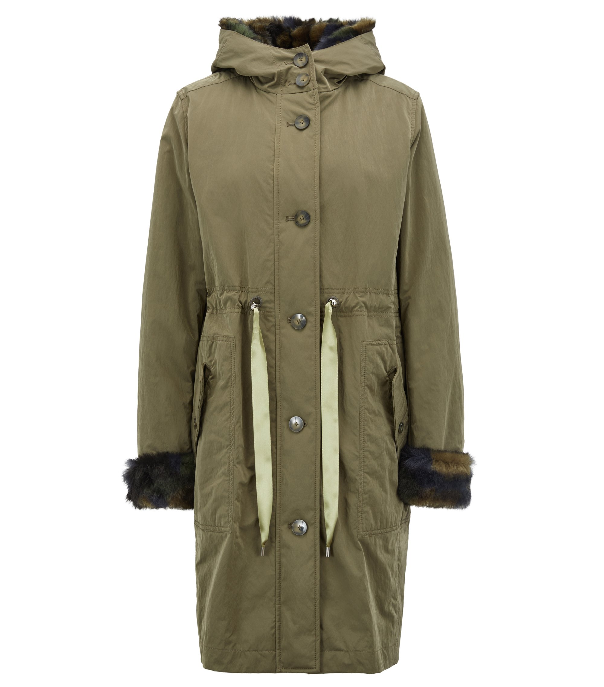 Hooded parka with faux-fur trims and detachable lining, Khaki