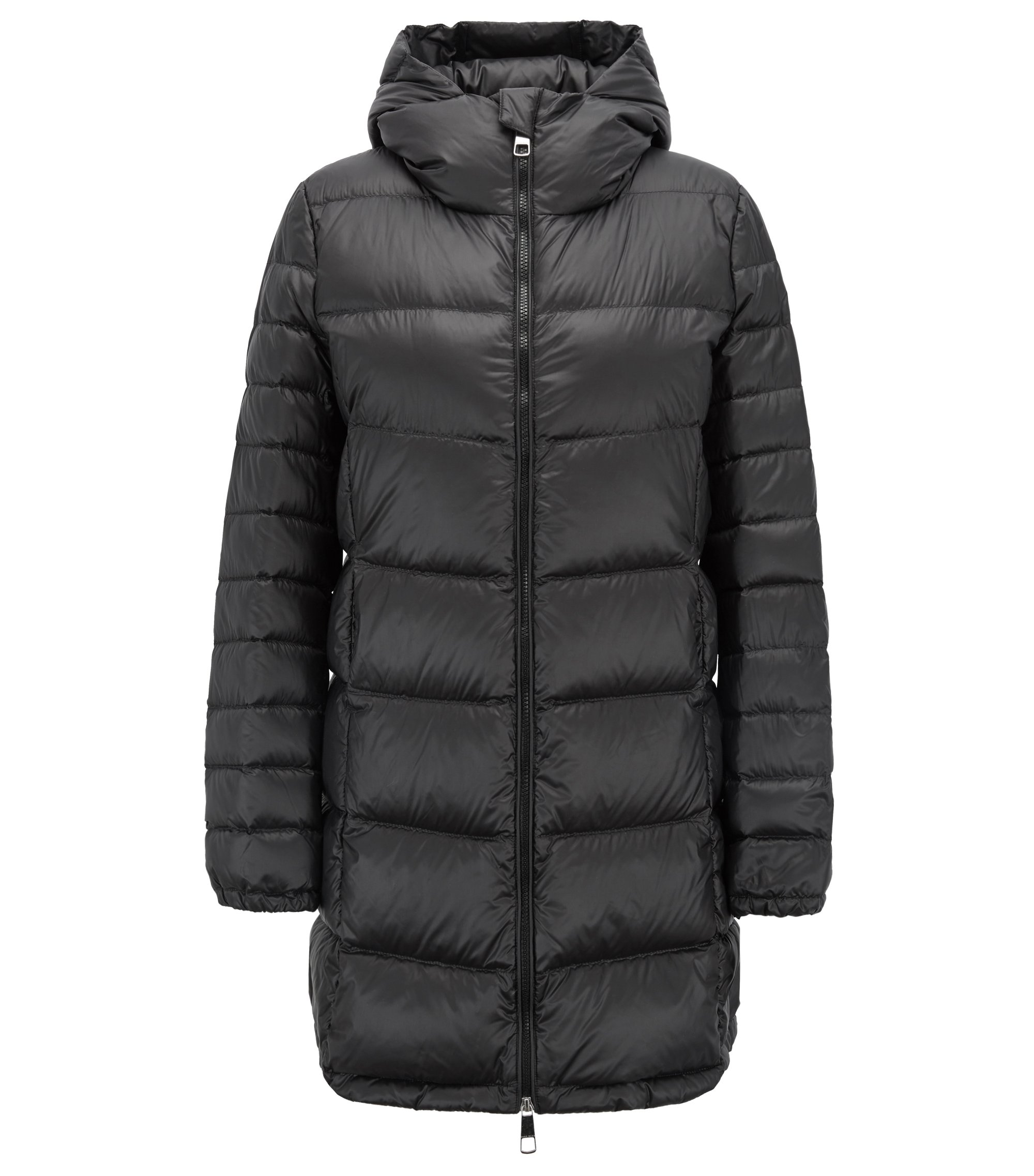Hooded down-filled coat with water-repellent outer, Black