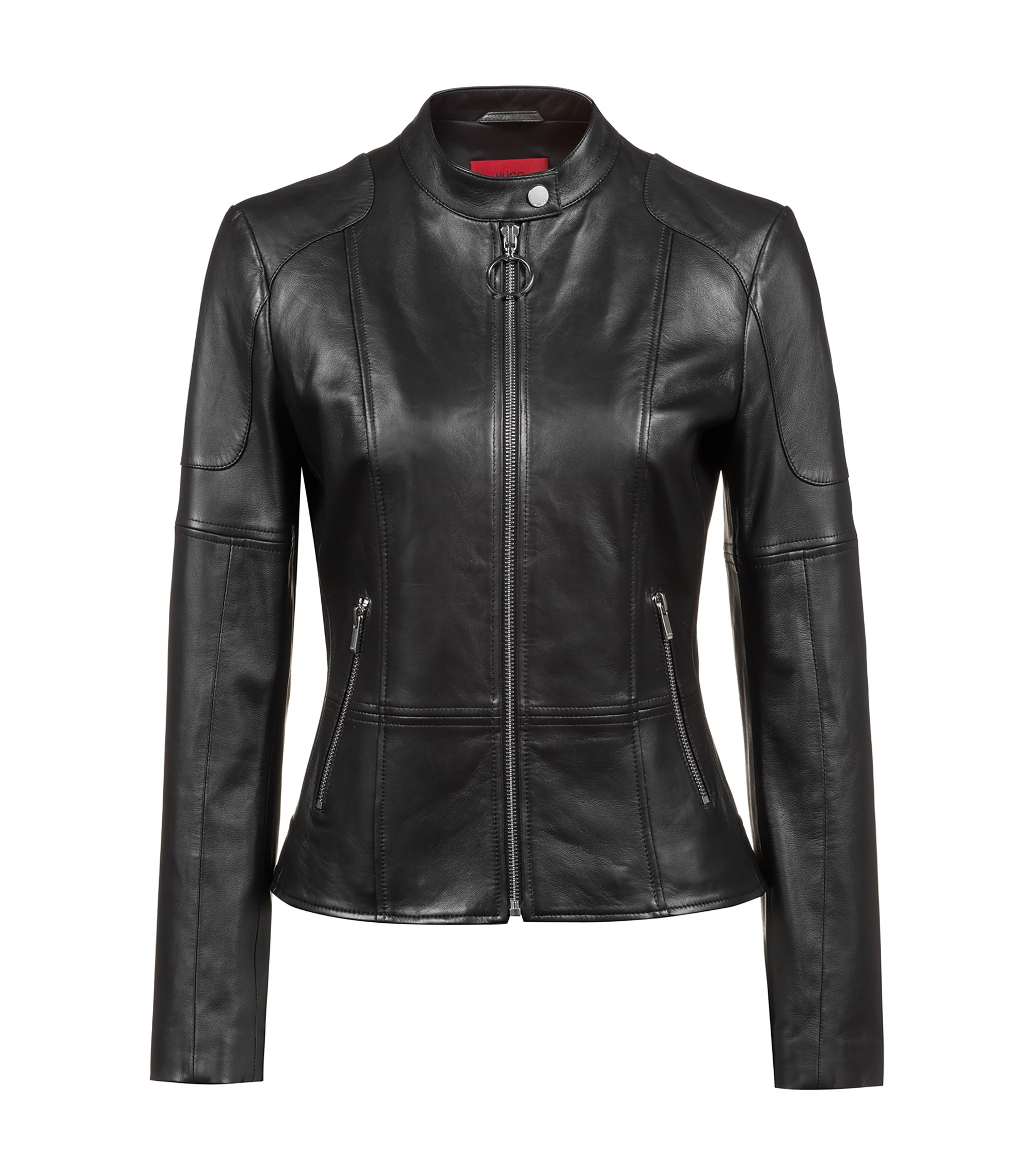 Regular-fit lambskin leather jacket with zipped cuffs, Black