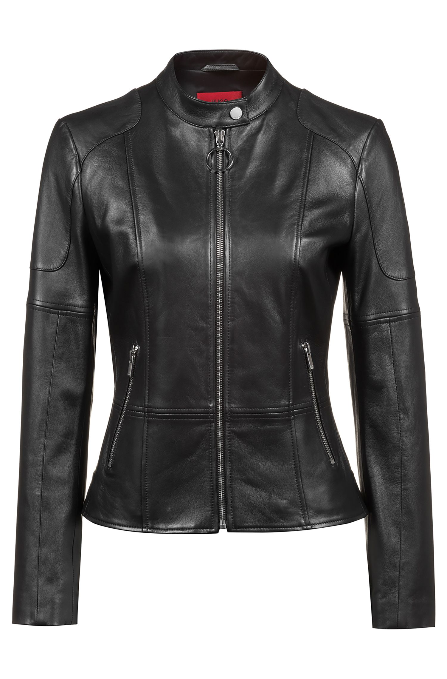 Regular-fit lambskin leather jacket with zipped cuffs