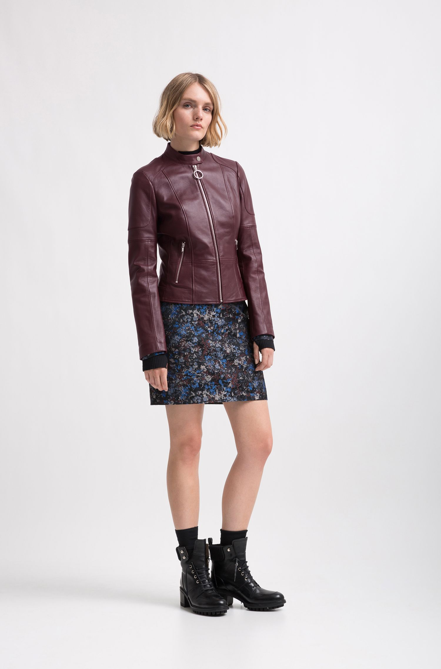 Veste en cuir d'agneau Regular Fit, Rouge sombre