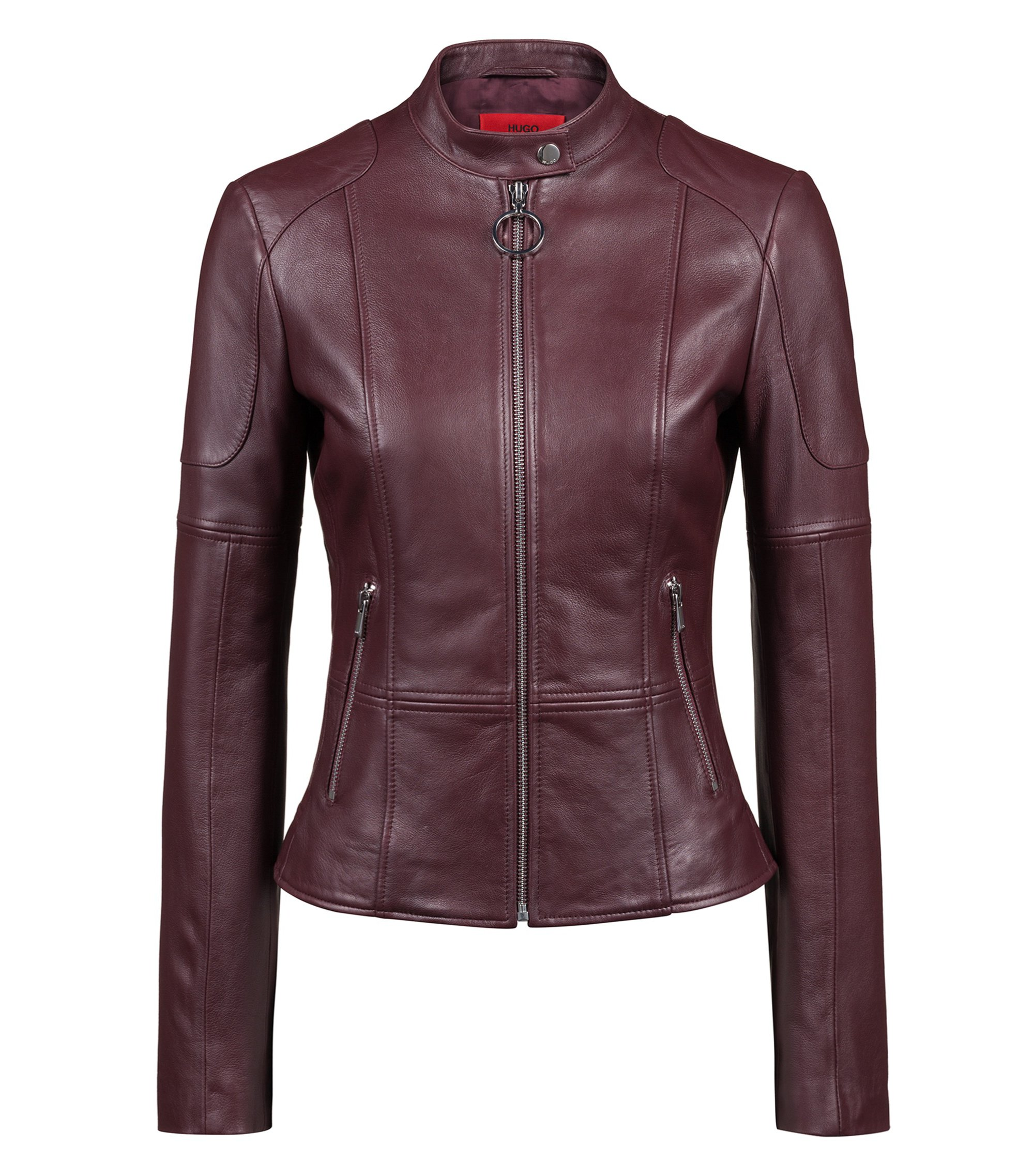 Regular-fit lambskin leather jacket with zipped cuffs, Dark Red