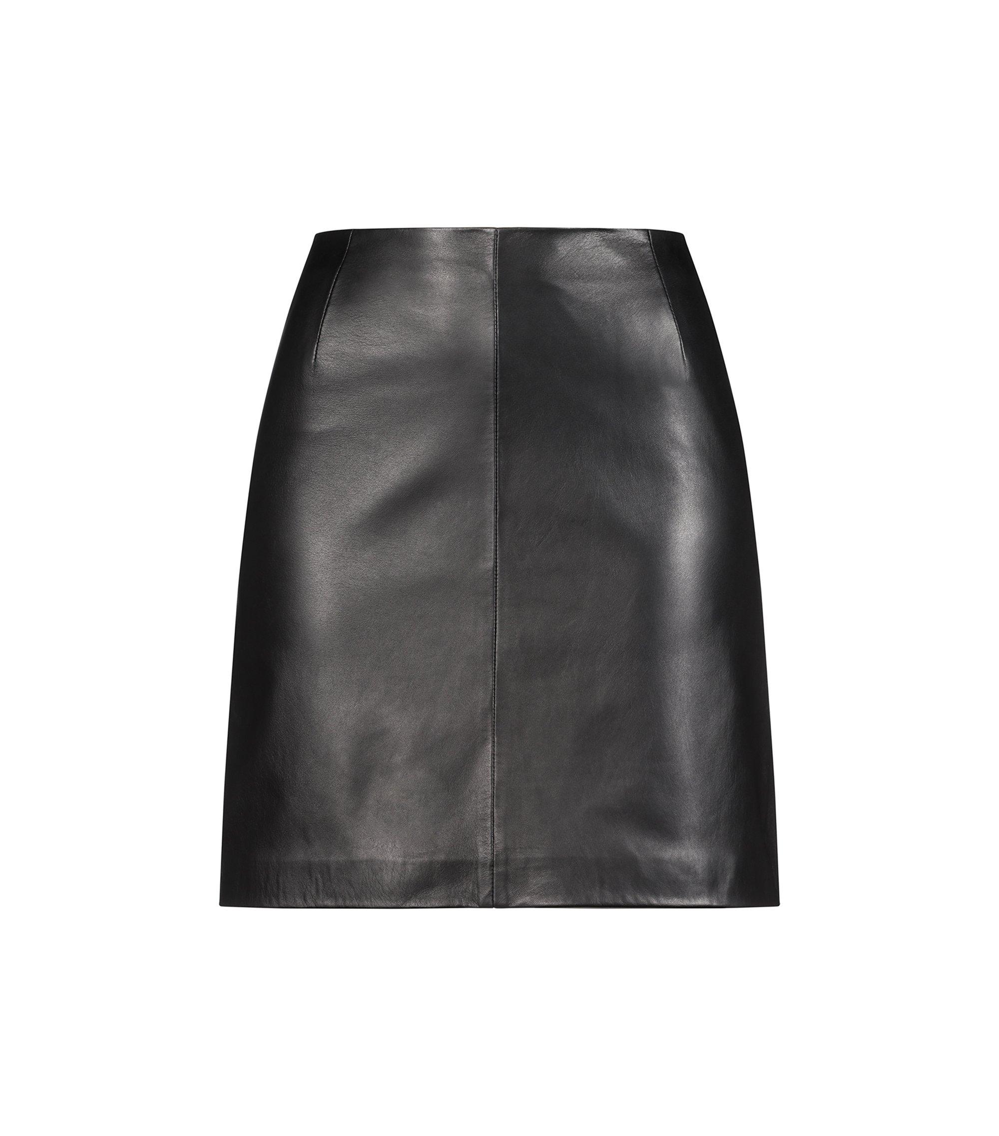 Minirock aus Leder mit sichtbarem Reißverschluss, Schwarz