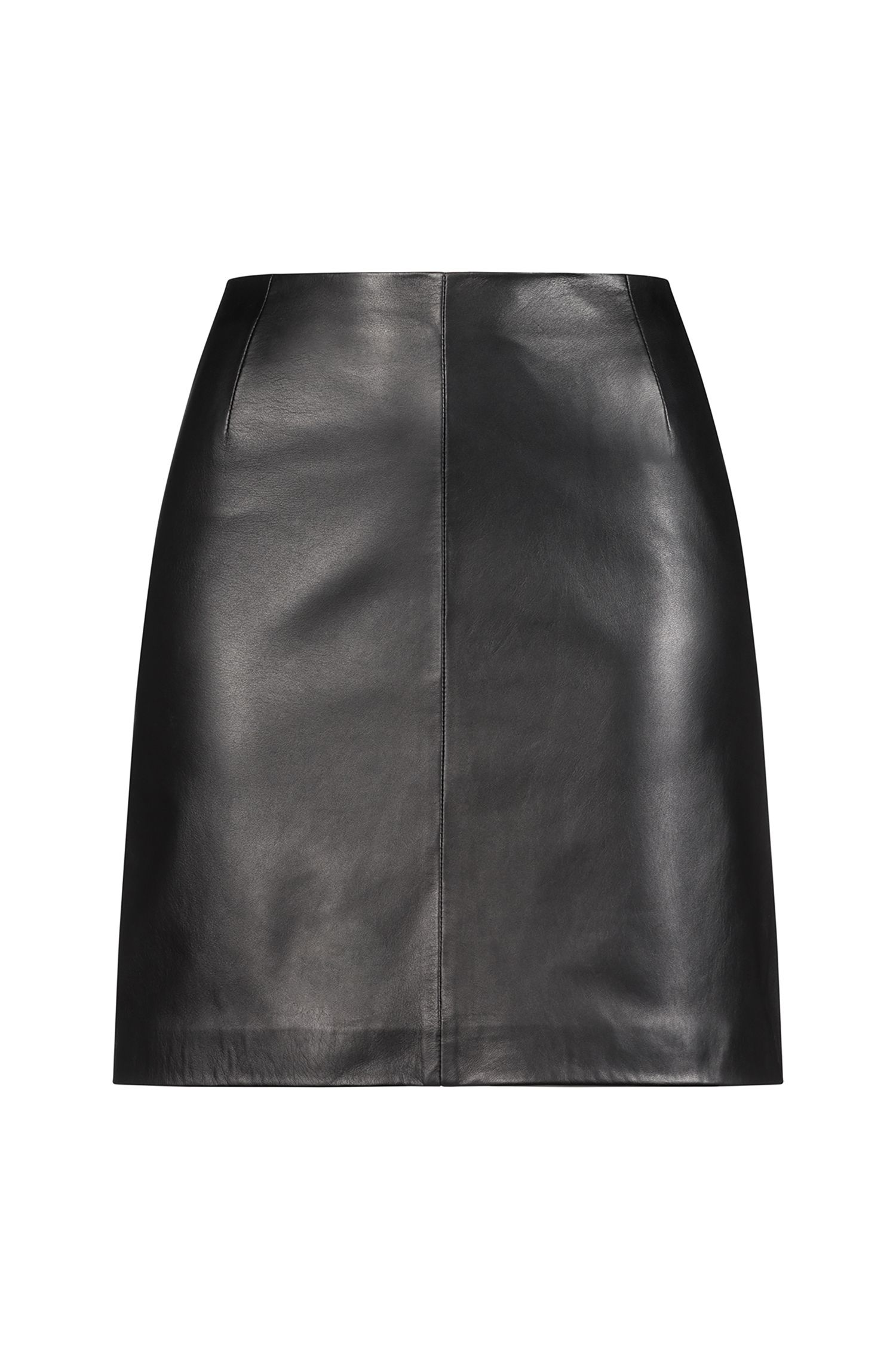 Lambskin leather miniskirt with exposed zip, Black