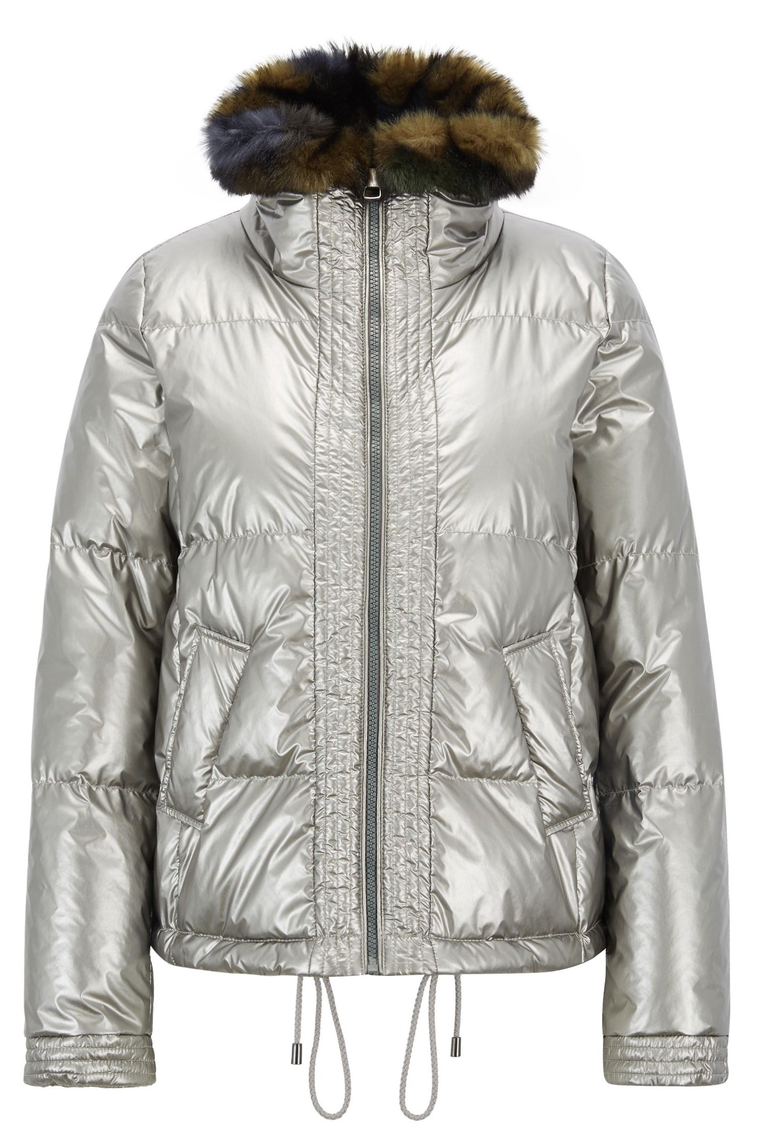 Down-filled jacket in water-repellent metallic fabric, Silver