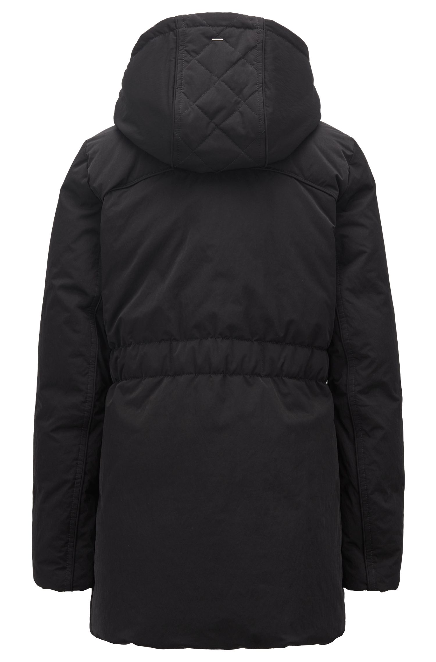 Down-filled water-repellent parka with detachable hood, Black