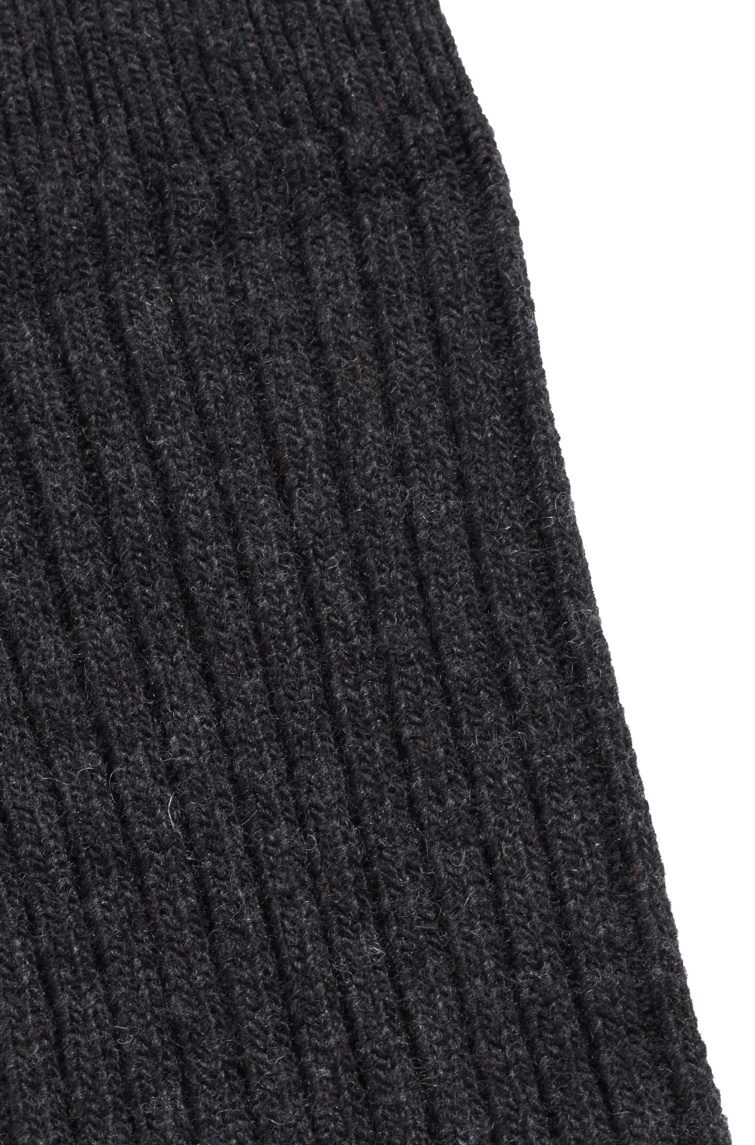 Ribbed boot socks blended with wool and cashmere, Anthracite