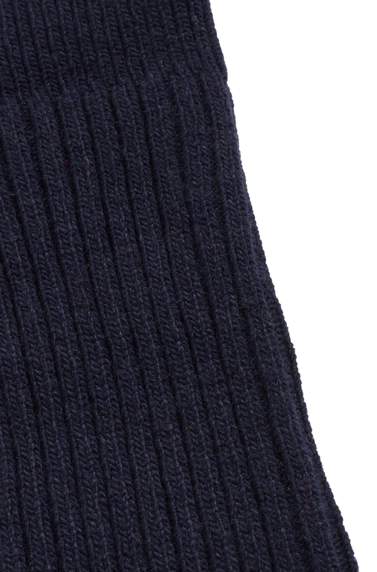 Laarzensokken van ribmateriaal met wol en kasjmier, Donkerblauw