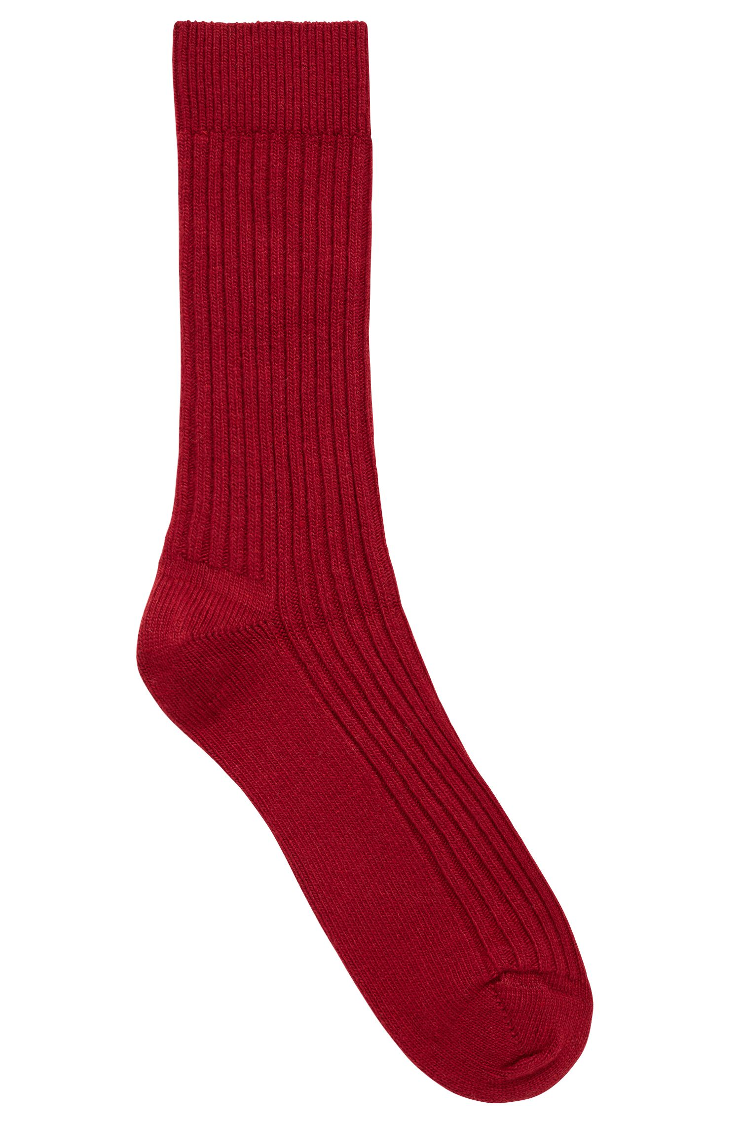 Ribbed boot socks blended with wool and cashmere, Dark Red