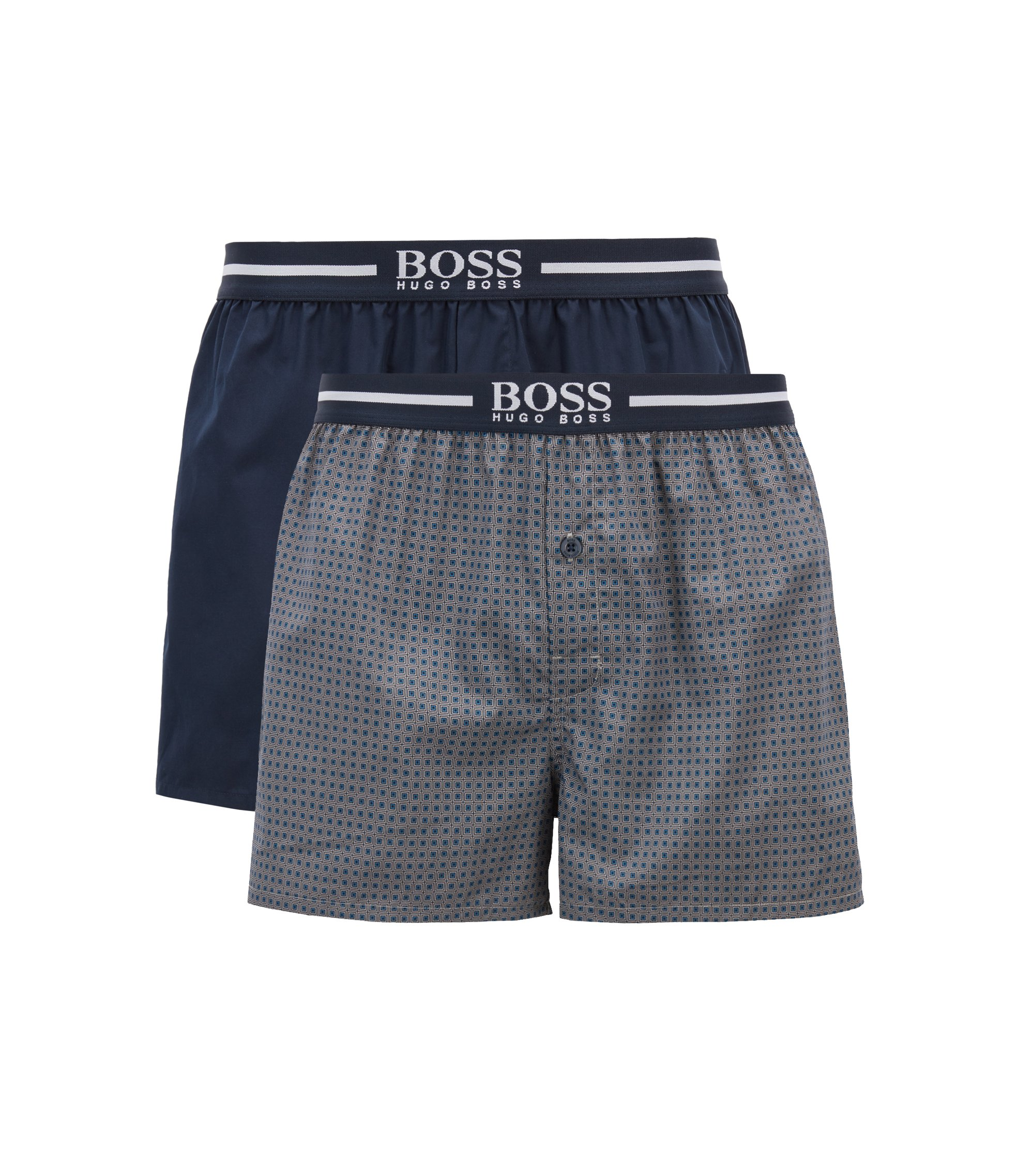 Two-pack of cotton pyjama boxers with logo waistbands, Open Blue