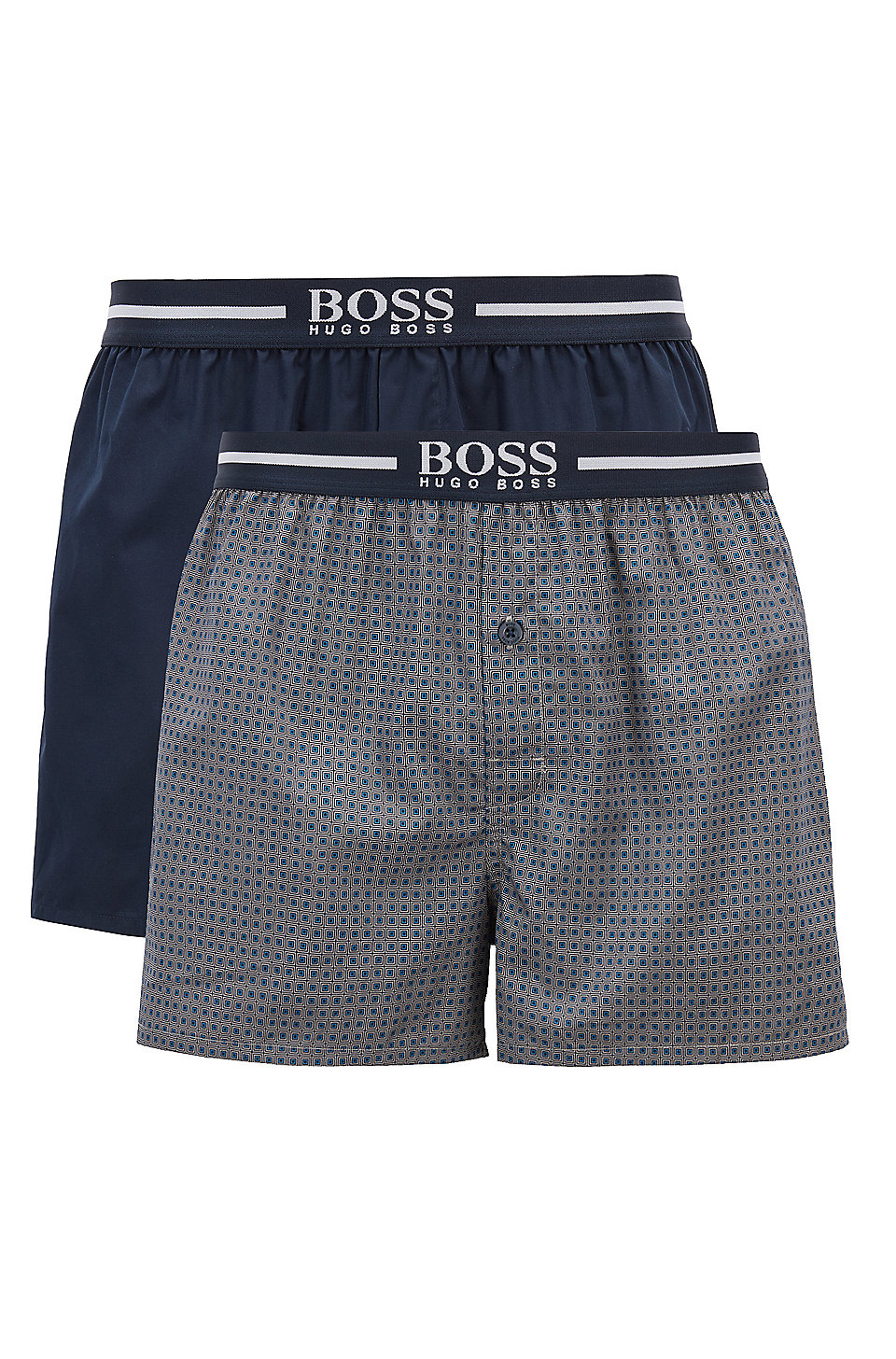 b8a265951 BOSS - Two-pack of cotton pyjama boxers with logo waistbands