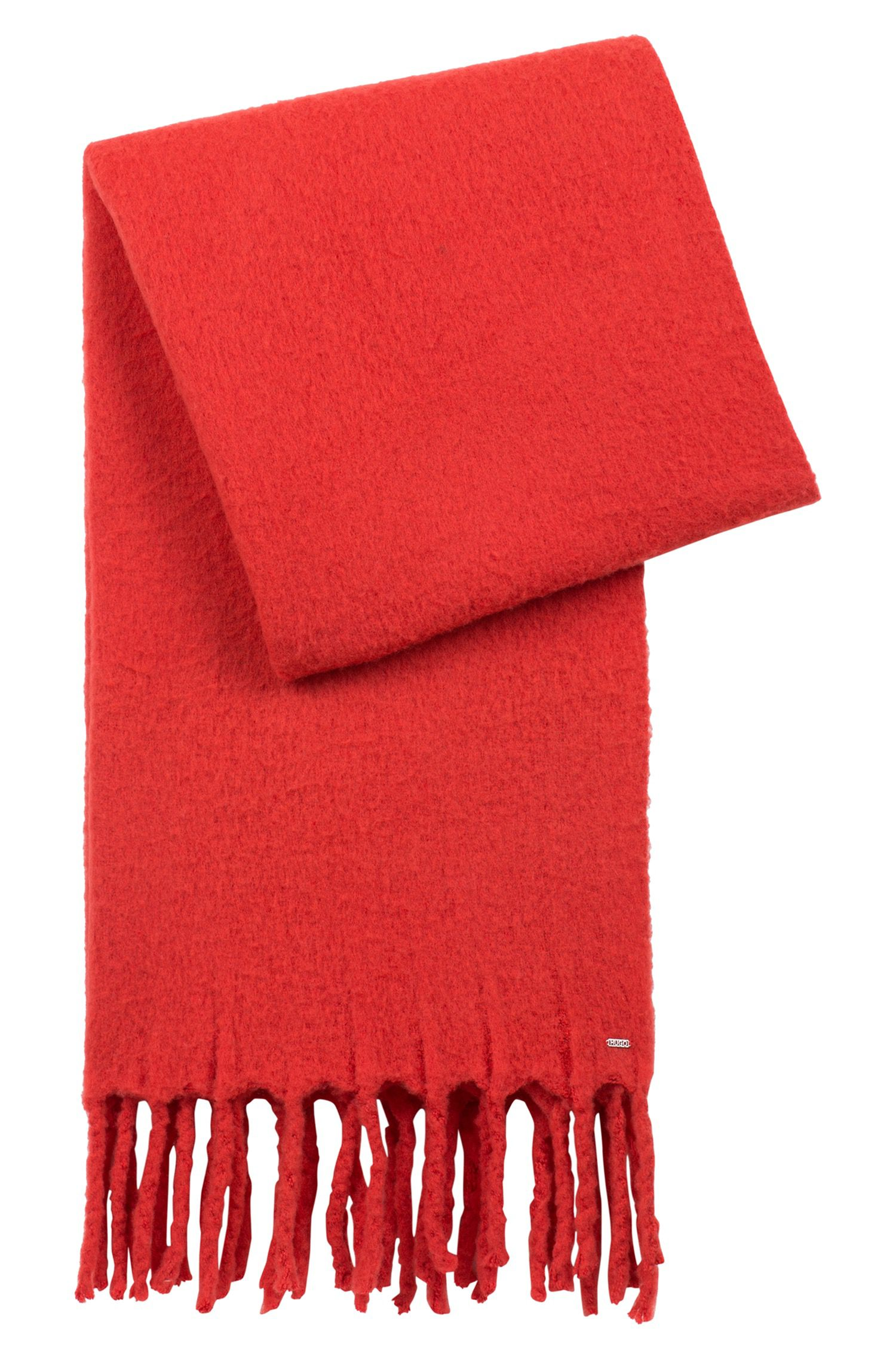 Scarf in a wool blend with chunky fringed edges, Red