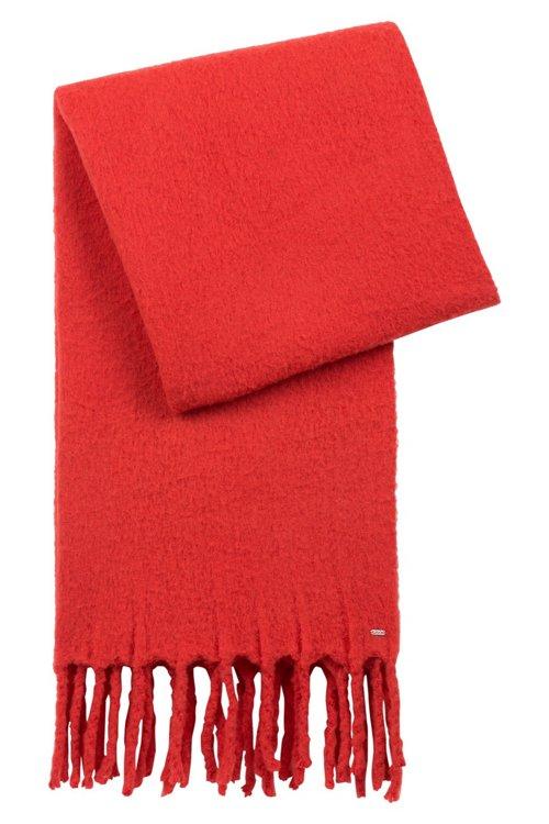 Hugo Boss - Bufanda en mezcla de lana con flecos gruesos en los bordes - 1