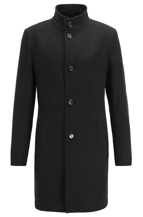 Manteau Slim Fit en laine vierge et cachemire, Noir