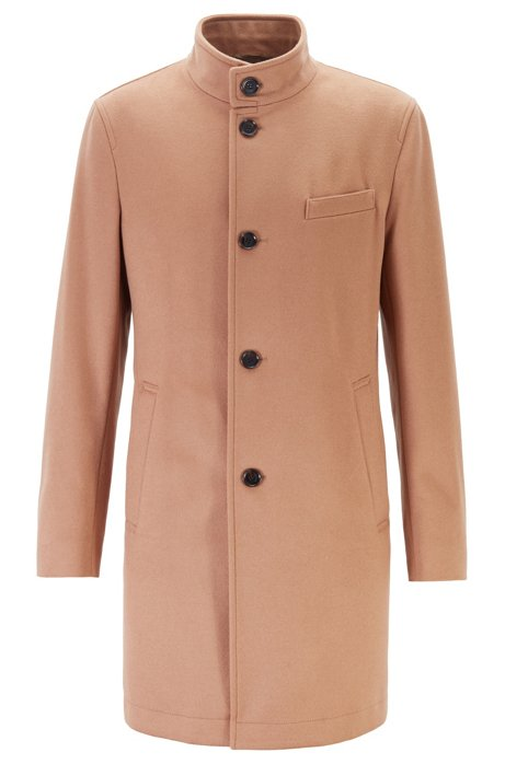Slim-fit coat in virgin wool and cashmere, Beige