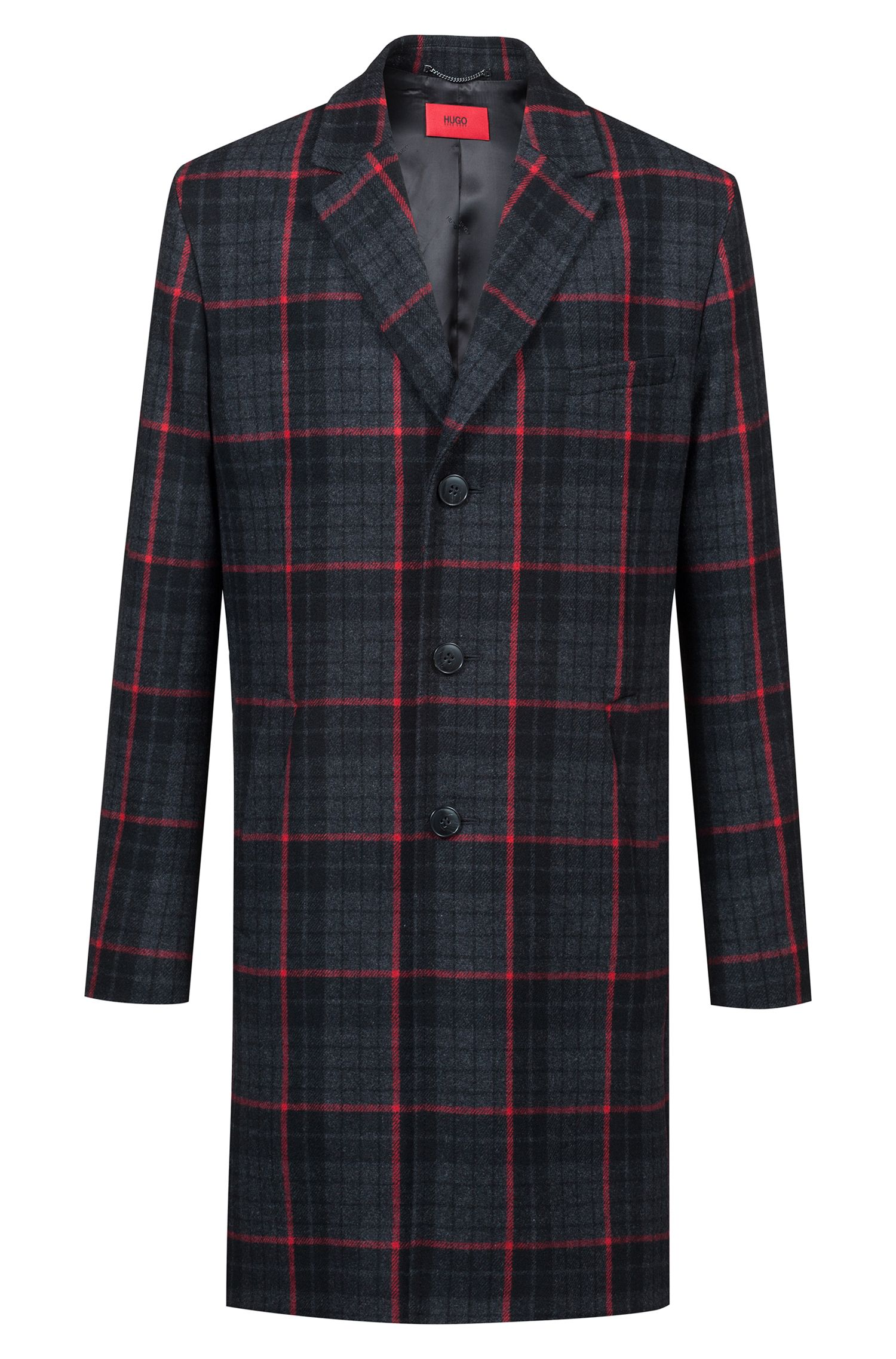 Glen check slim-fit coat in a wool blend, Patterned