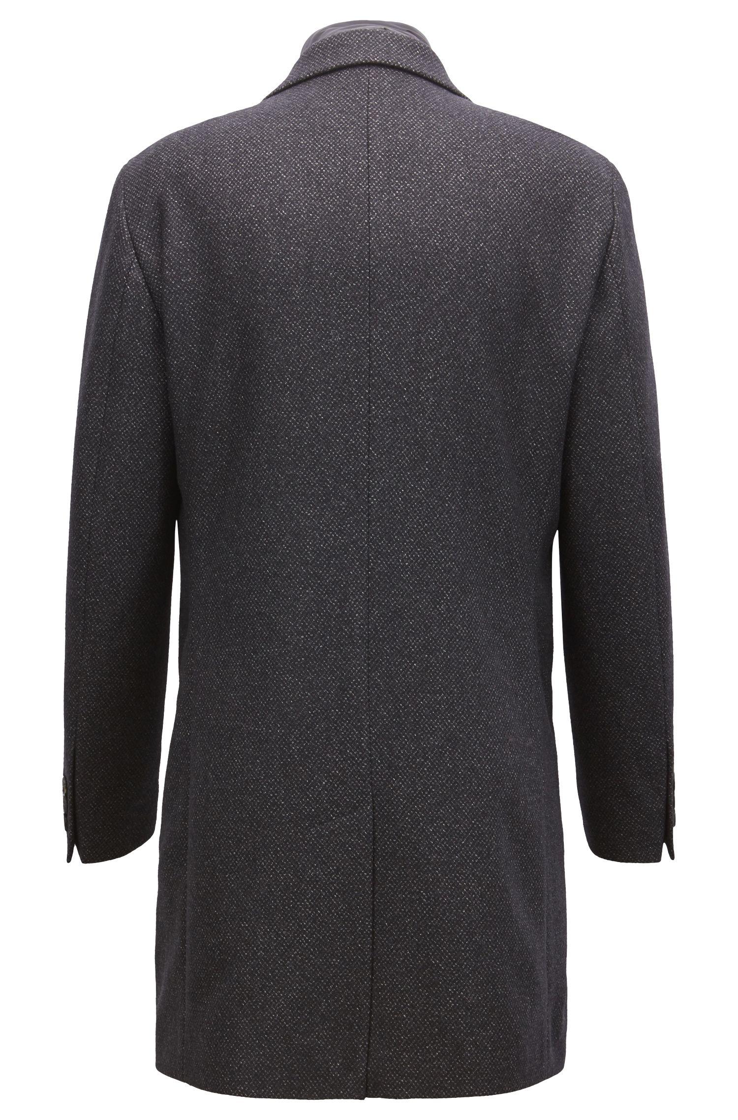 Manteau Slim Fit en laine mélangée avec empiècement intérieur amovible, Gris sombre