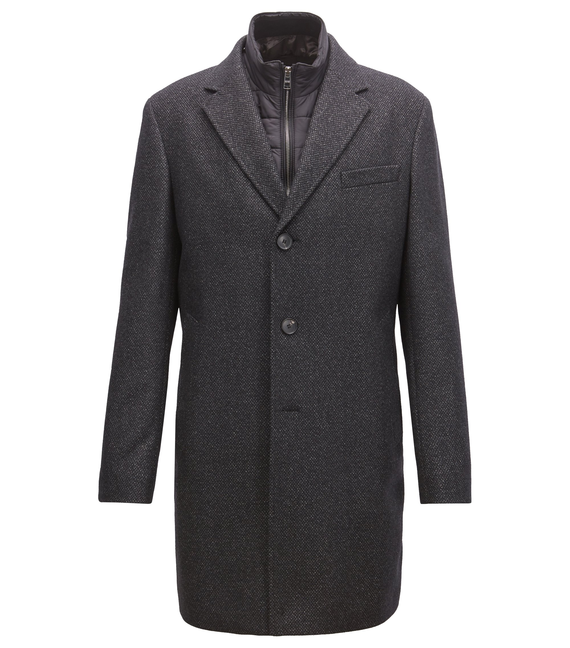 Slim-fit wool-blend coat with detachable inner bib, Dark Grey
