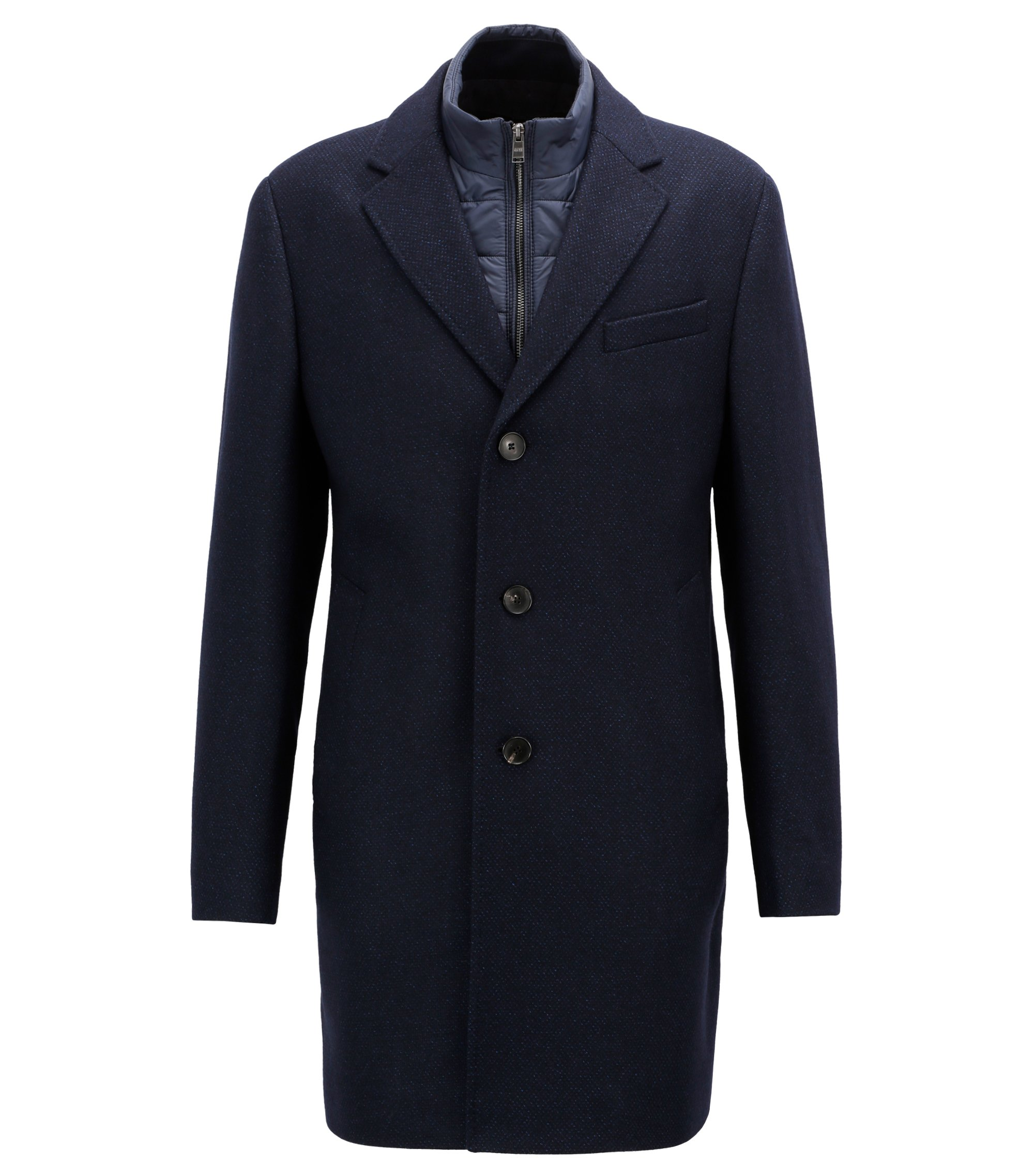 Slim-fit wool-blend coat with detachable inner bib, Blue