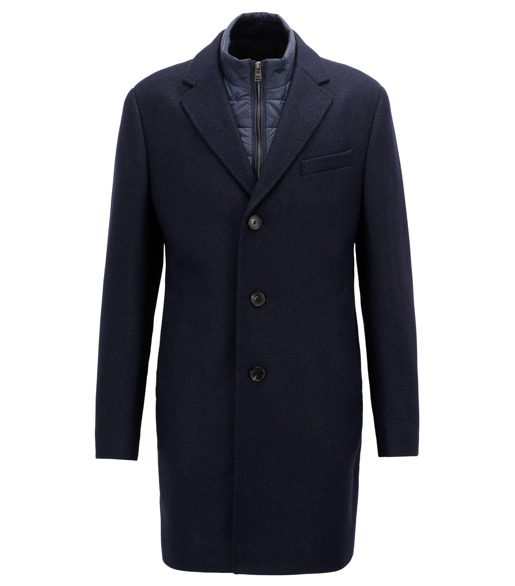 Cappotto slim fit in misto lana con pettorina rimovibile, Blu