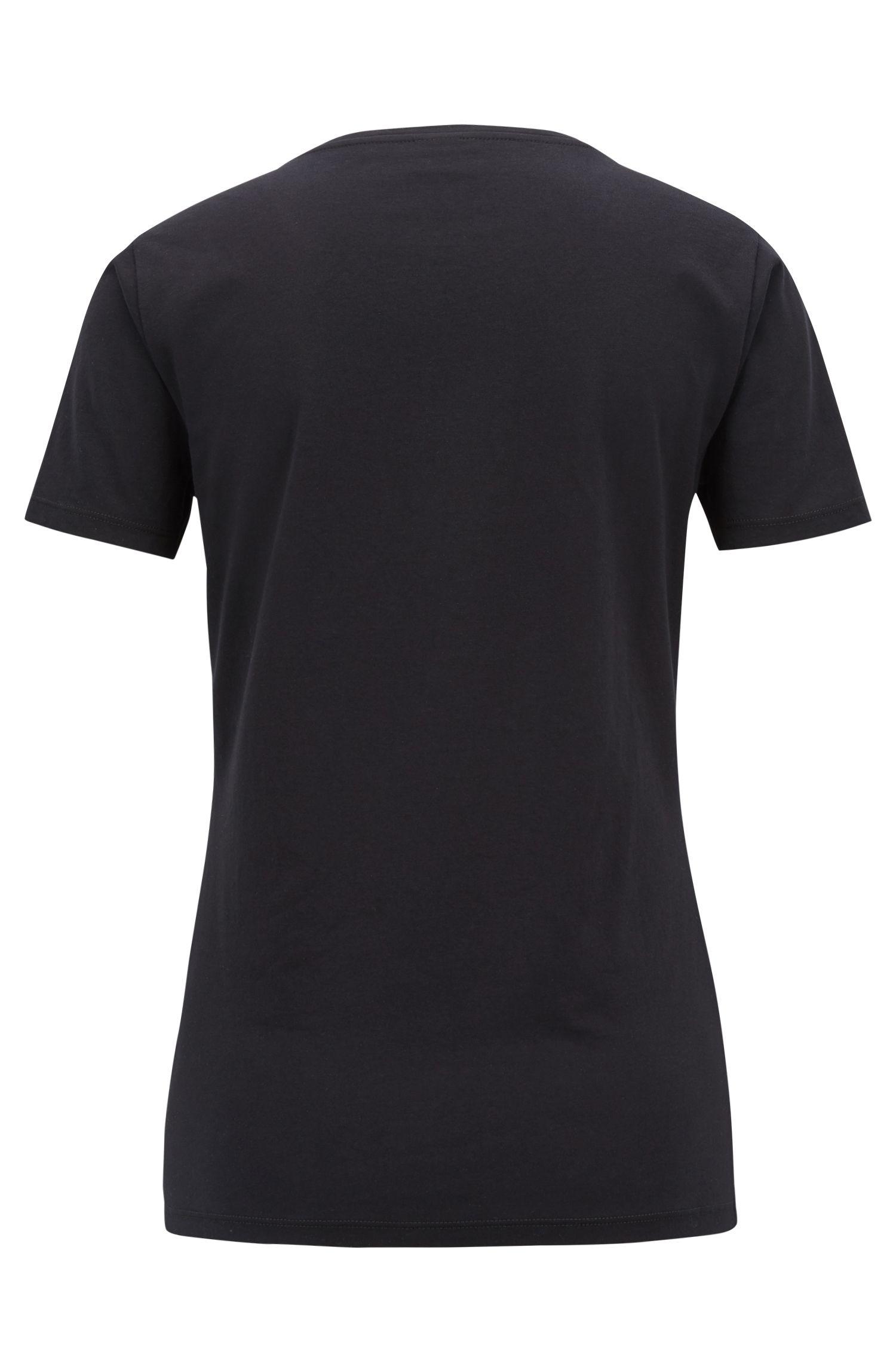 T-shirt en coton Slim Fit à imprimé fleurs placé, Noir
