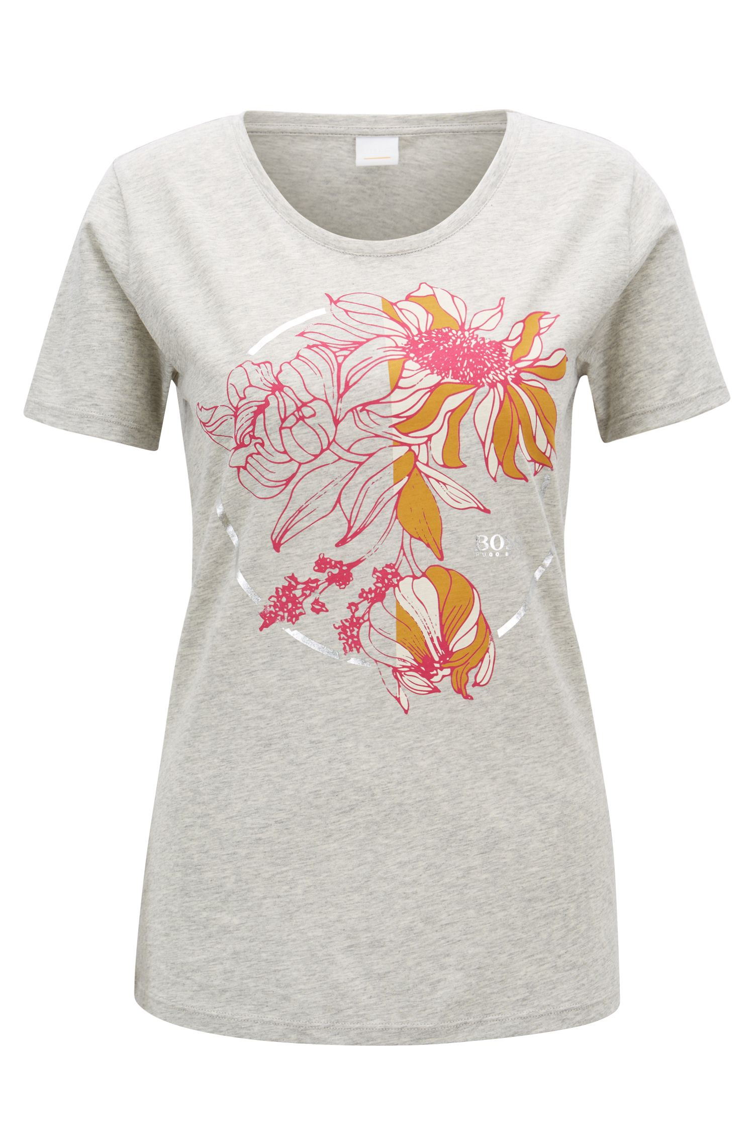 Slim-fit T-shirt in cotton with placement flower print, Silver