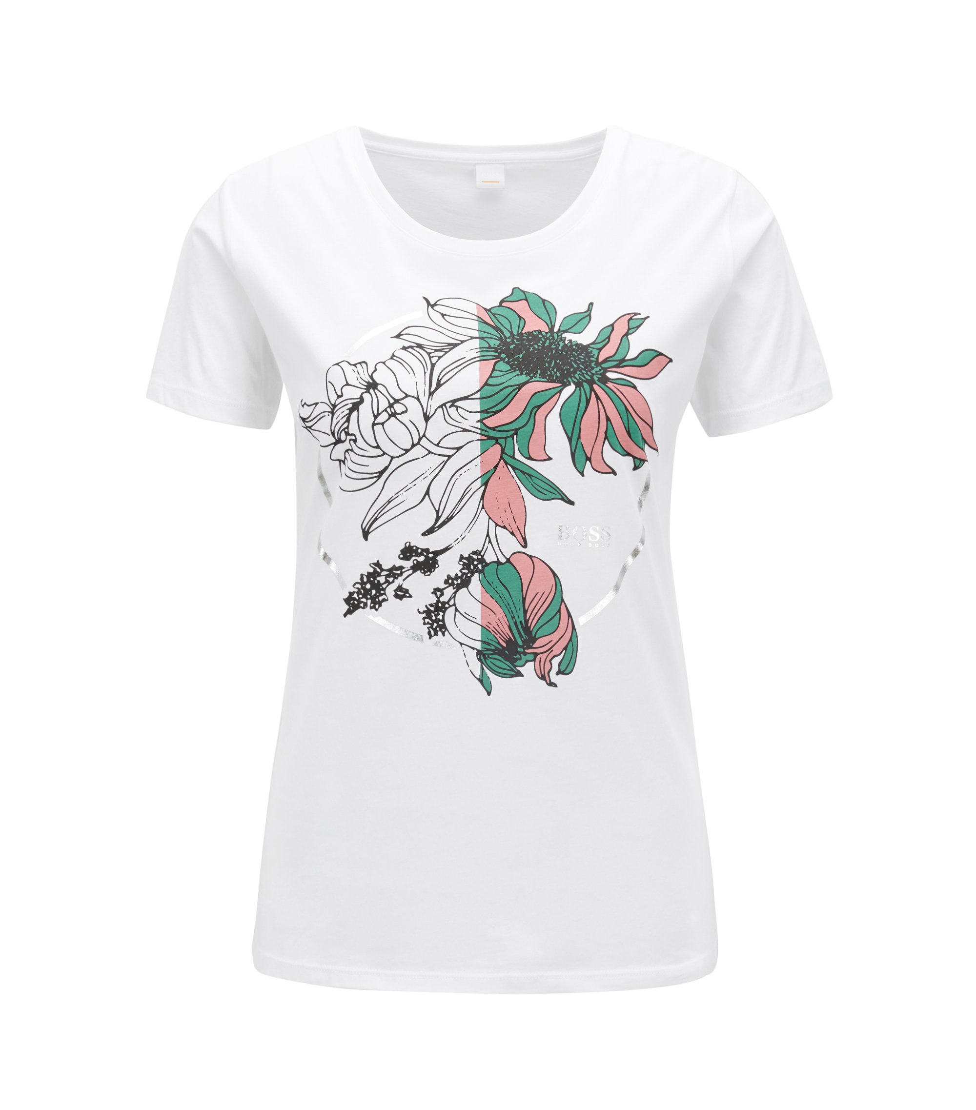 Slim-fit T-shirt in cotton with placement flower print, White