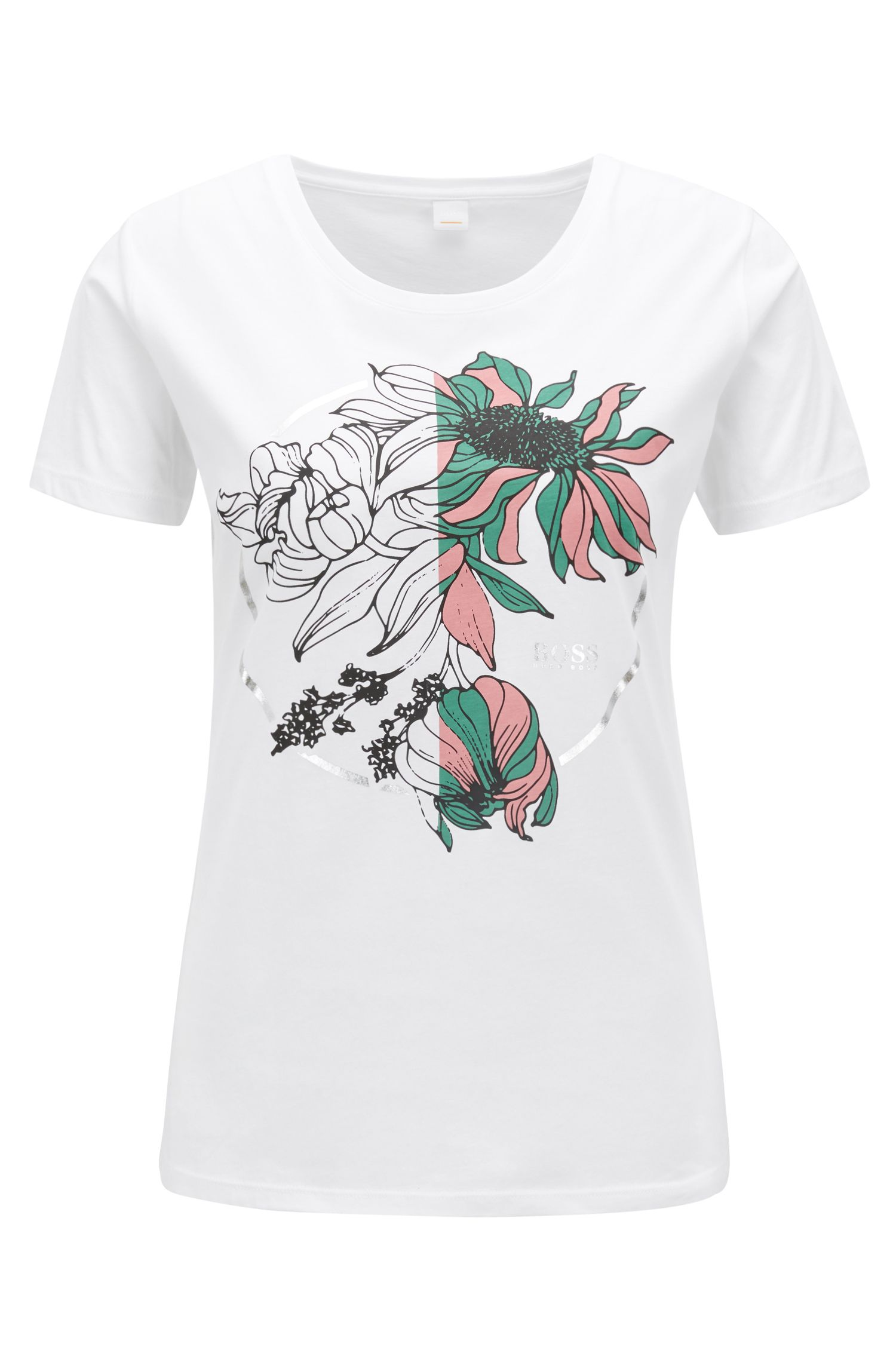 Slim-fit T-shirt in cotton with placement flower print