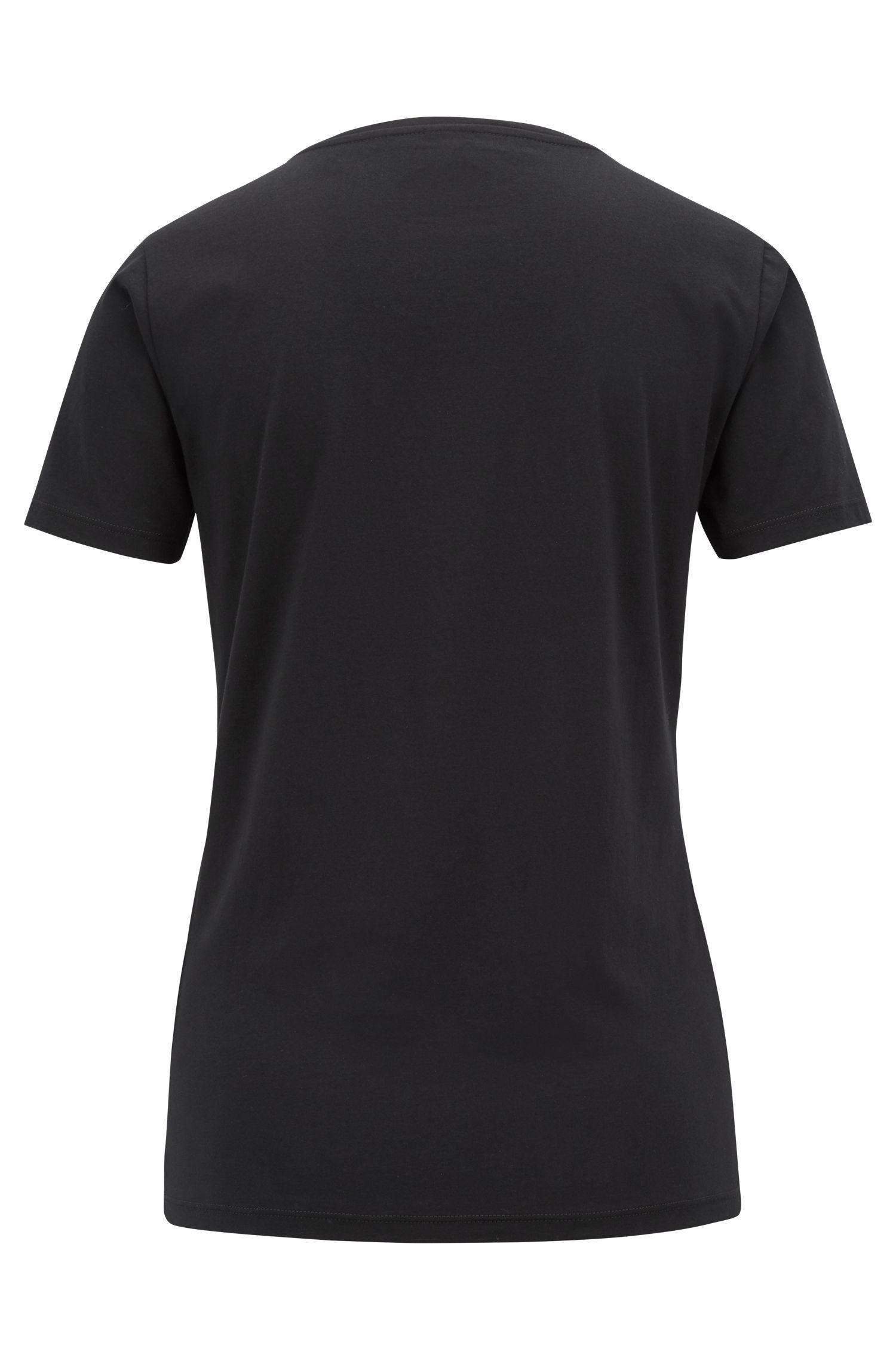 Slim-fit T-shirt met een gemengde hartjes- en sloganprint, Zwart