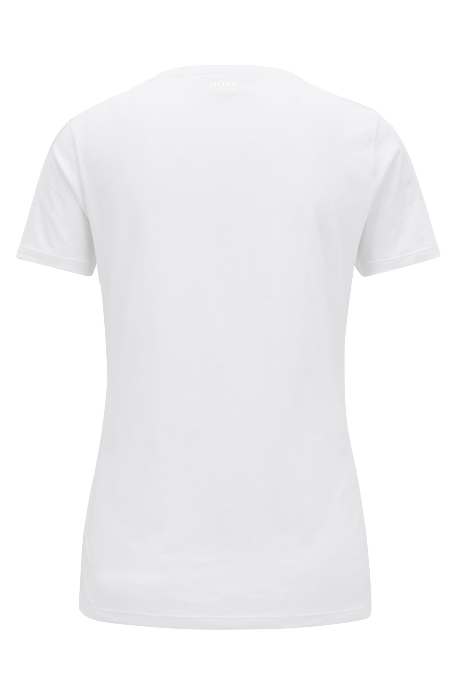 Slim-fit T-shirt in jersey cotton with printed slogan, White
