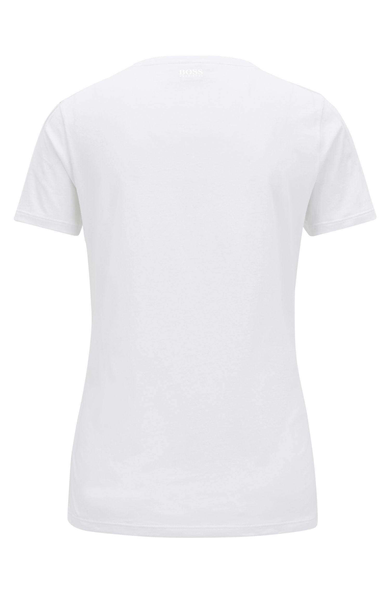 Camiseta slim fit en algodón de punto con eslogan estampado